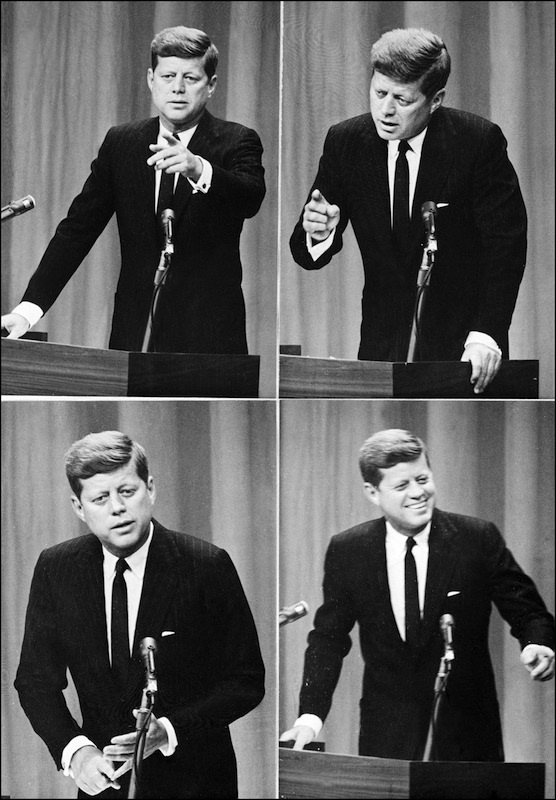 Pictures show United States president John Fitzgerald Kennedy during his first press conference, which was live on US TV.