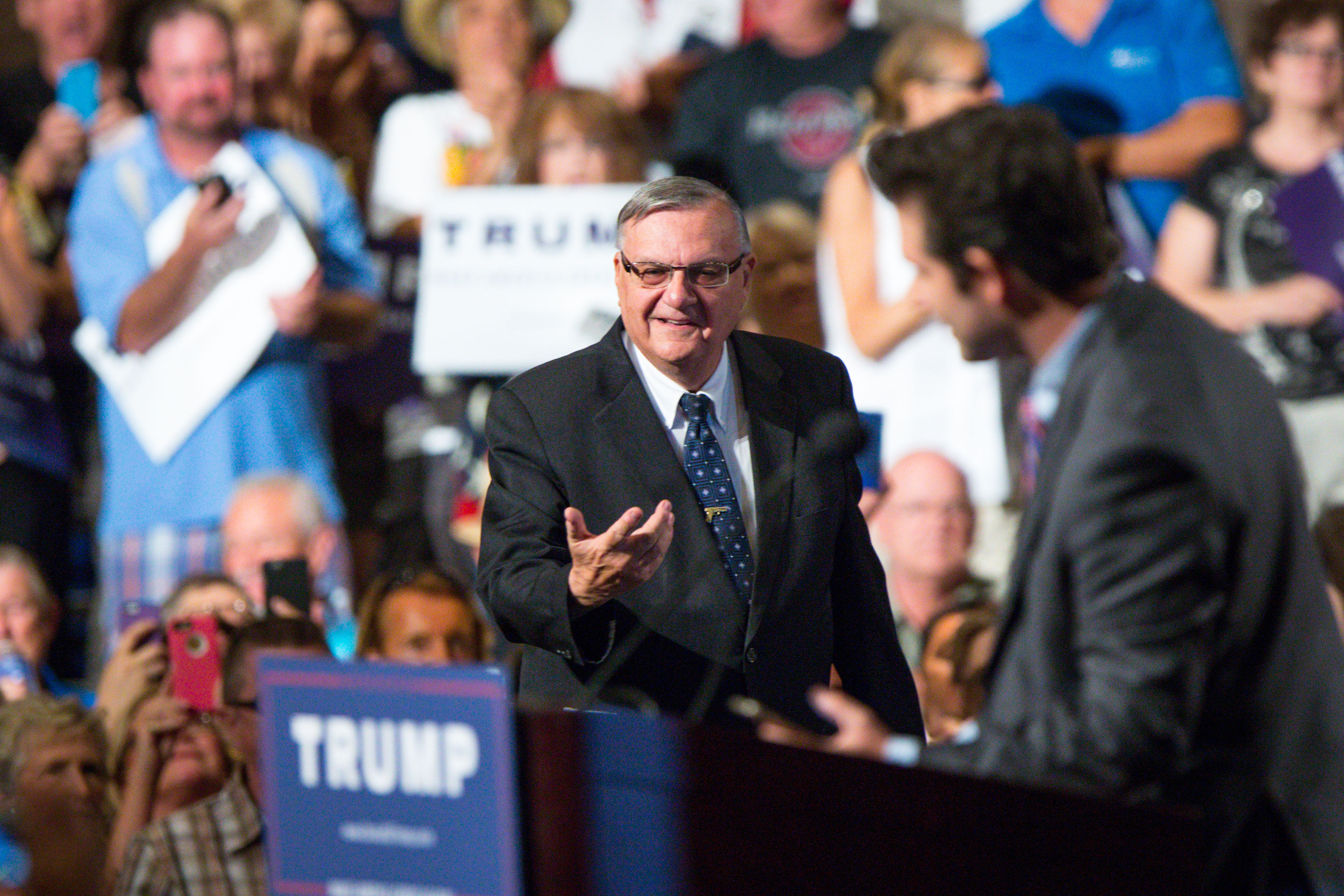 Maricopa County Sheriff Joe Arpaio takes the stage to introduce Republican presidential candidate Donald Trump at a political rally at the Phoenix Convention Center on July 11, 2015 in Phoenix, Arizona.