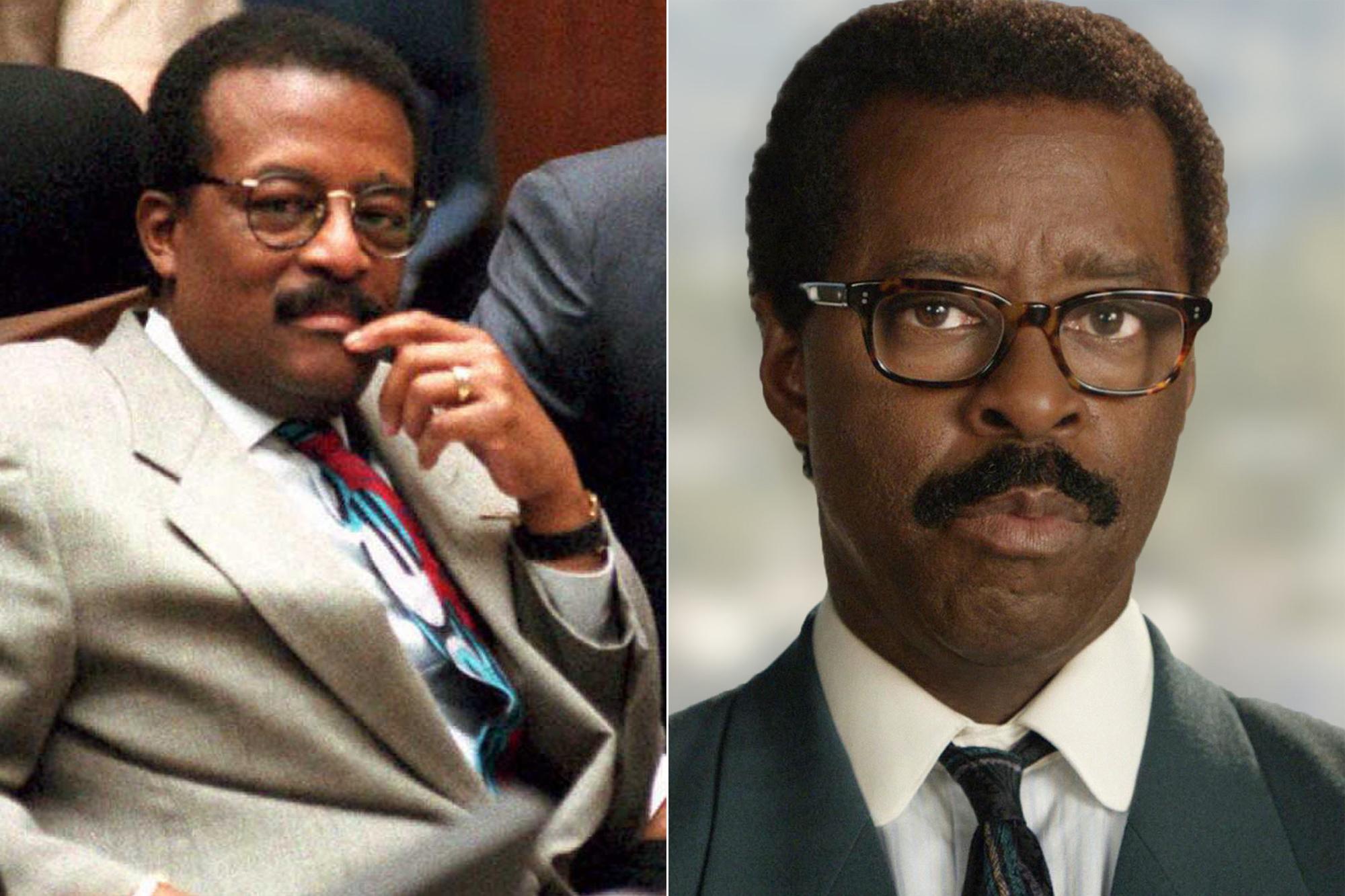 Left: Defense attorney Johnnie Cochran; Right: Courtney B. Vance.
