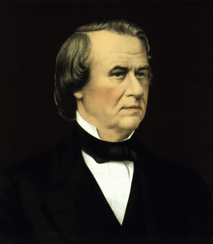 Andrew Johnson, the 17th President of the United States. Johnson became president by being Abraham Lincoln's vice president at the time of Lincoln's assassination.
