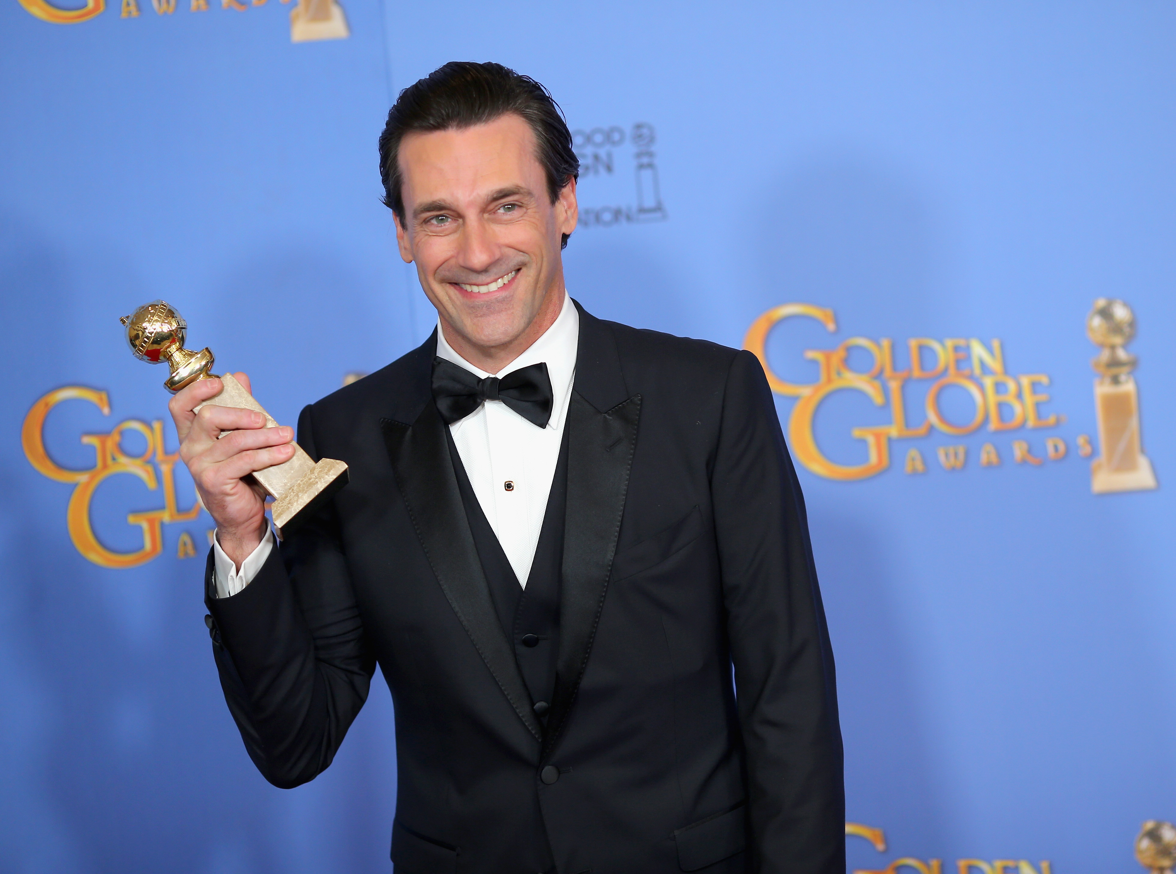 Actor Jon Hamm winner of Best Performance by an Actor In A Television Series - Drama, poses in the press room during the 73rd Annual Golden Globe Awards held at the Beverly Hilton Hotel on January 10, 2016 in Beverly Hills, California.