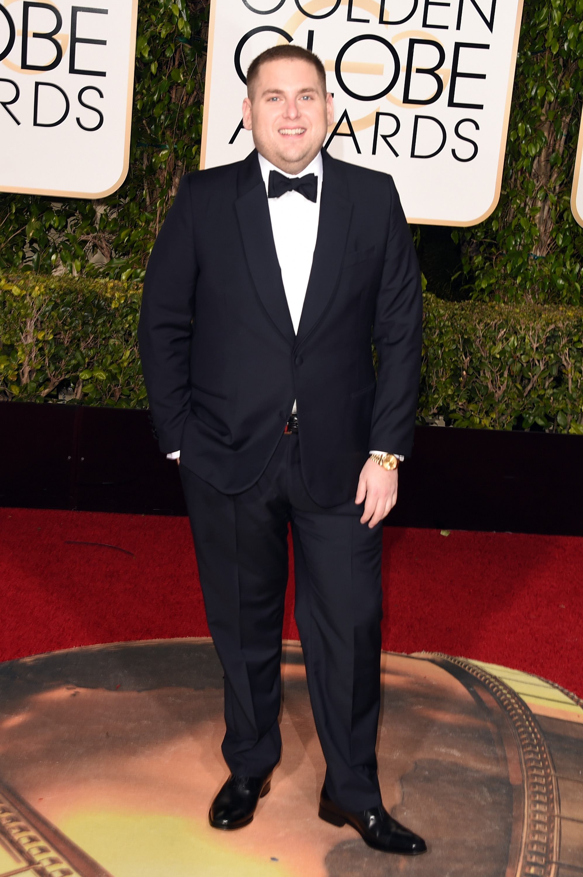 Jonah Hill arrives to the 73rd Annual Golden Globe Awards on Jan. 10, 2016 in Beverly Hills.