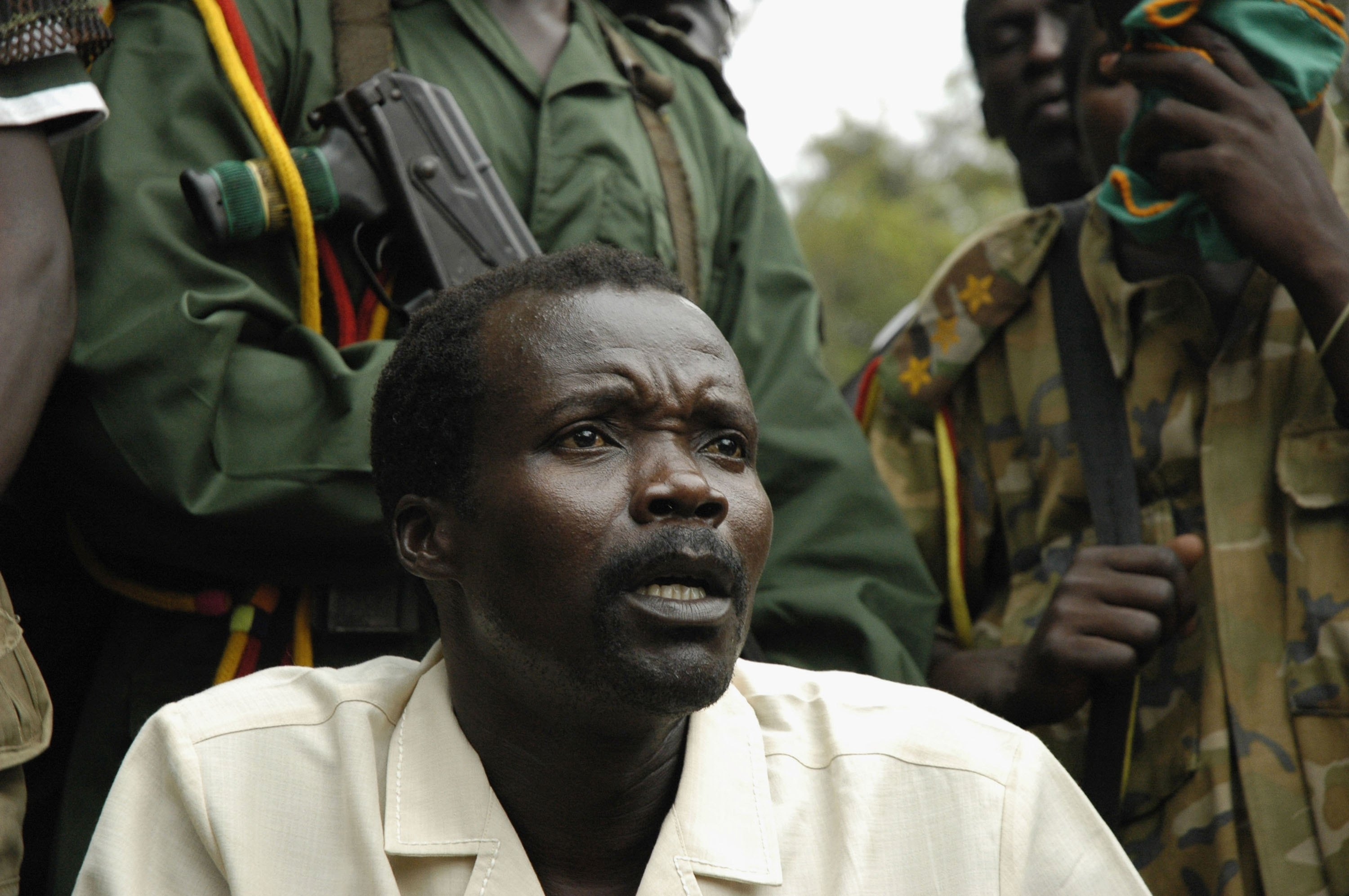 Joseph Kony, leader of the rebel group the Lord's Resistance Army makes a rare statement to the media during peace talks on Aug. 1, 2006 on the Congo-Sudan Border.