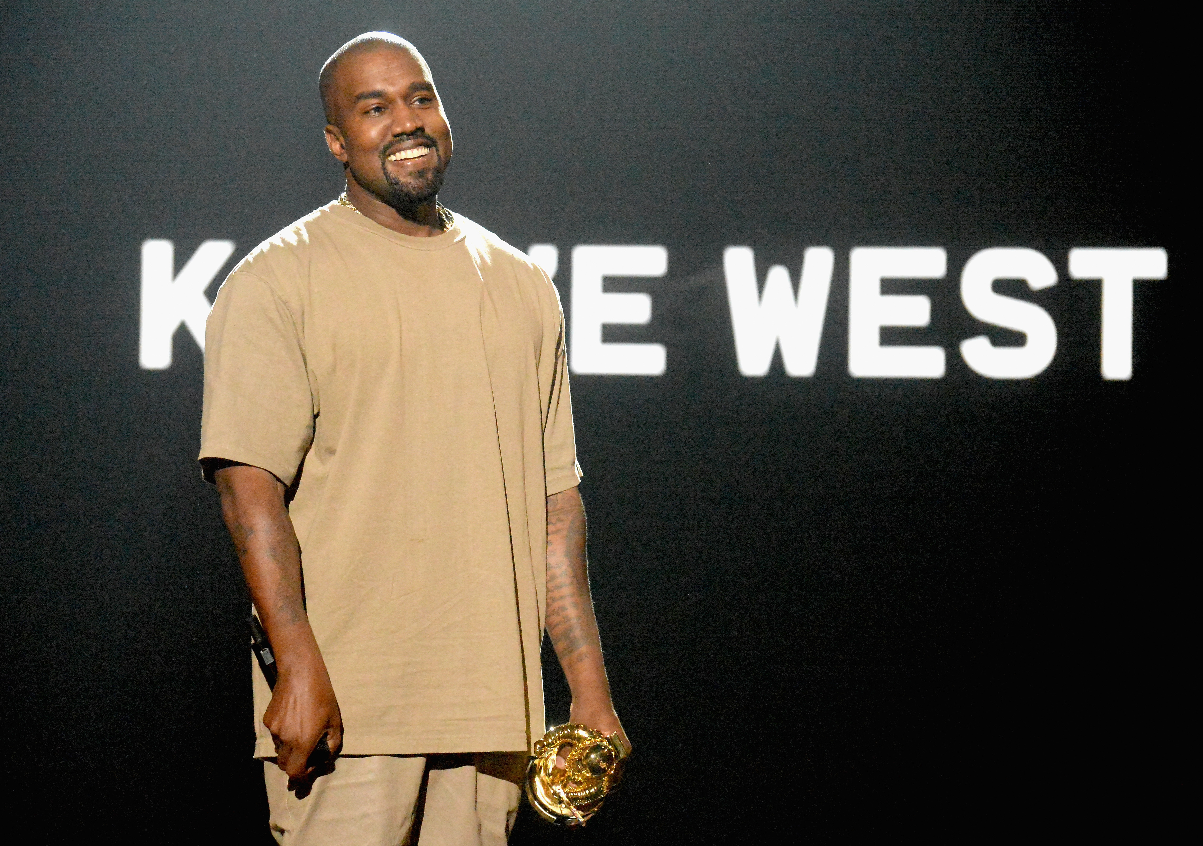 Kanye West accepts the Michael Jackson Video Vanguard Award onstage during the 2015 MTV Video Music Awards at Microsoft Theater on August 30, 2015 in Los Angeles, California.