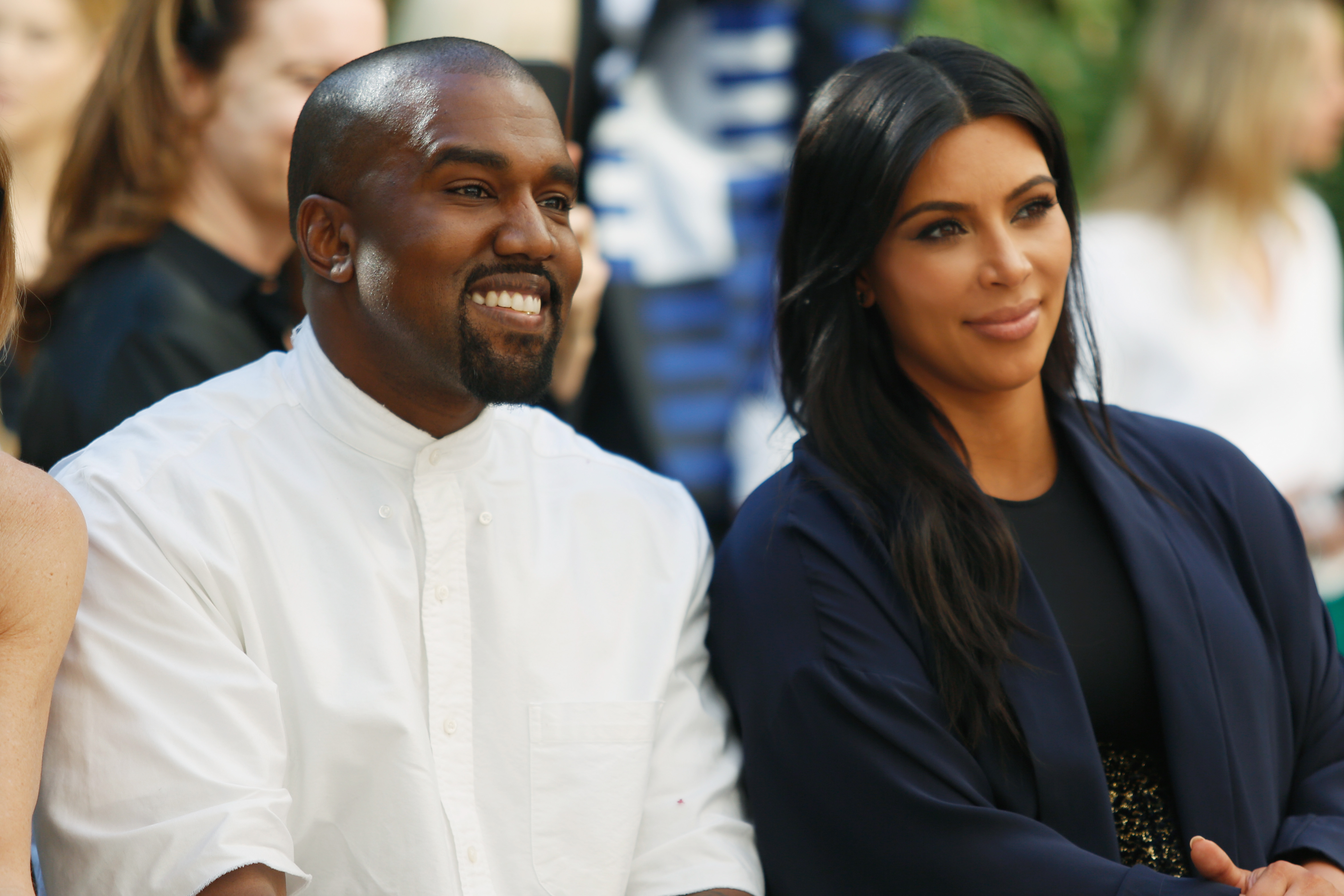 Recording artist Kanye West (L) and TV personality Kim Kardashian attend CFDA/Vogue Fashion Fund Show and Tea at Chateau Marmont on October 20, 2015 in Los Angeles, California.