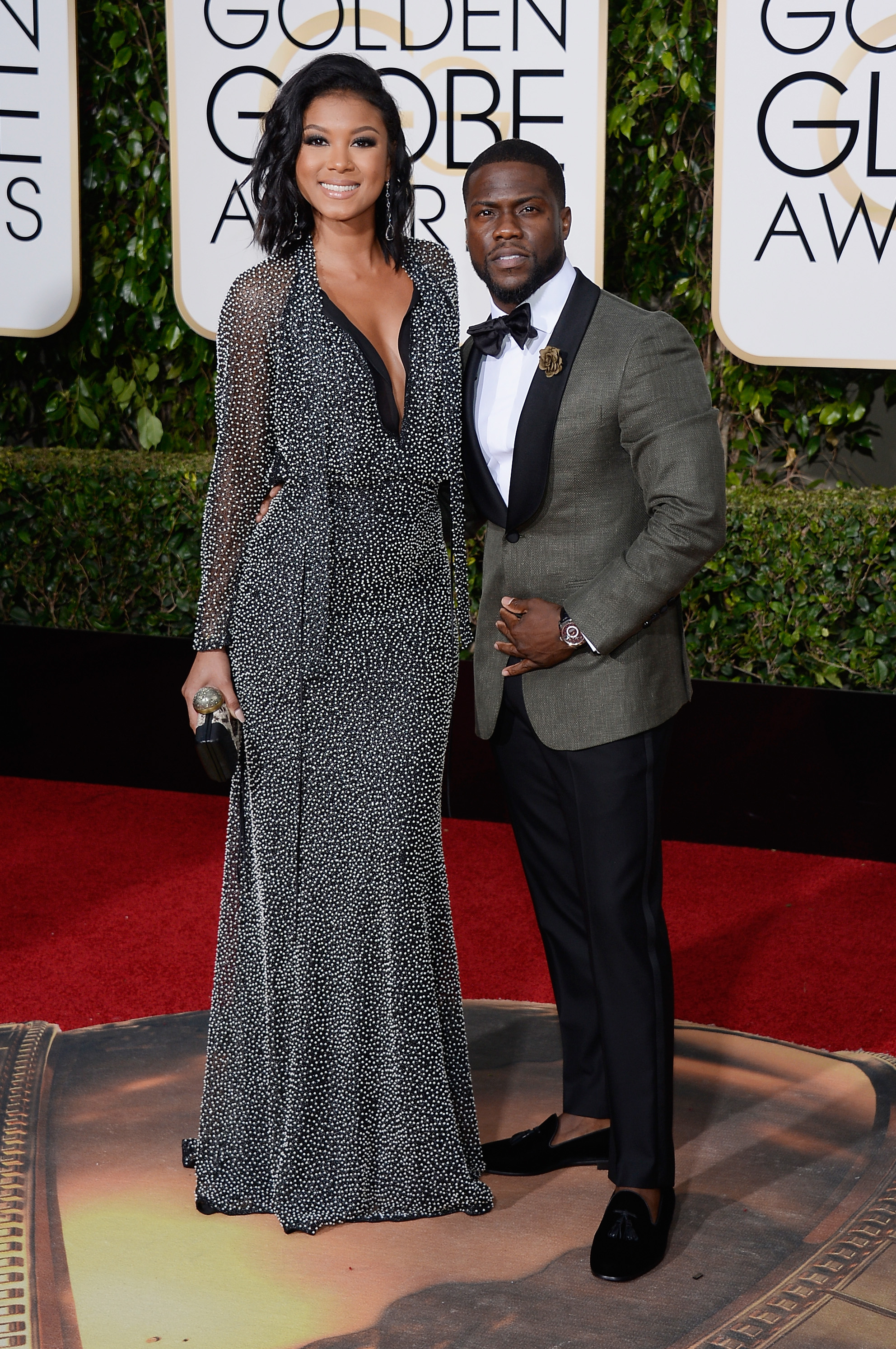 Eniko Parrish and Kevin Hart arrive to the 73rd Annual Golden Globe Awards on Jan. 10, 2016 in Beverly Hills.