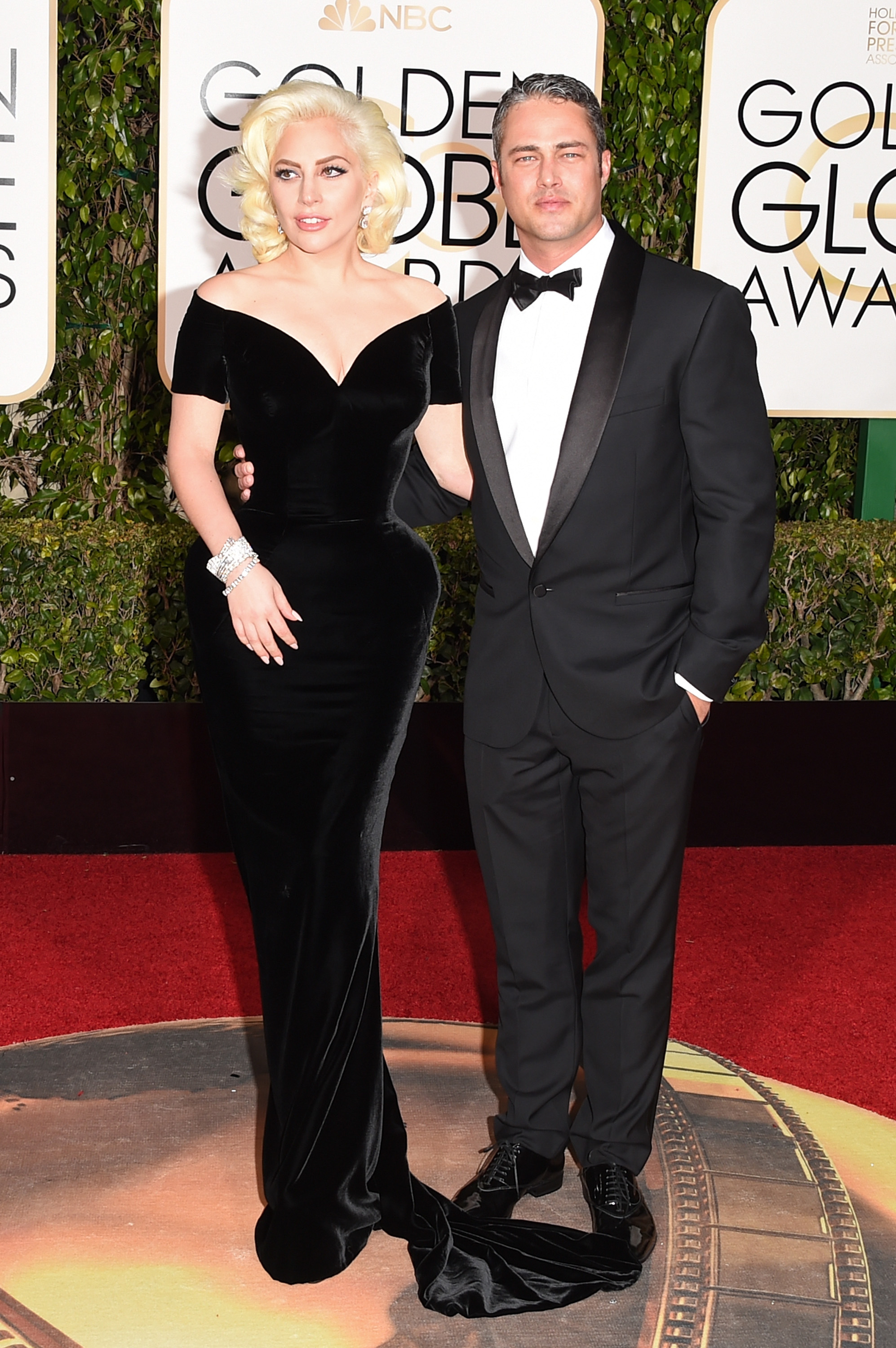 Lady Gaga and Taylor Kinney arrive to the 73rd Annual Golden Globe Awards on Jan. 10, 2016 in Beverly Hills.