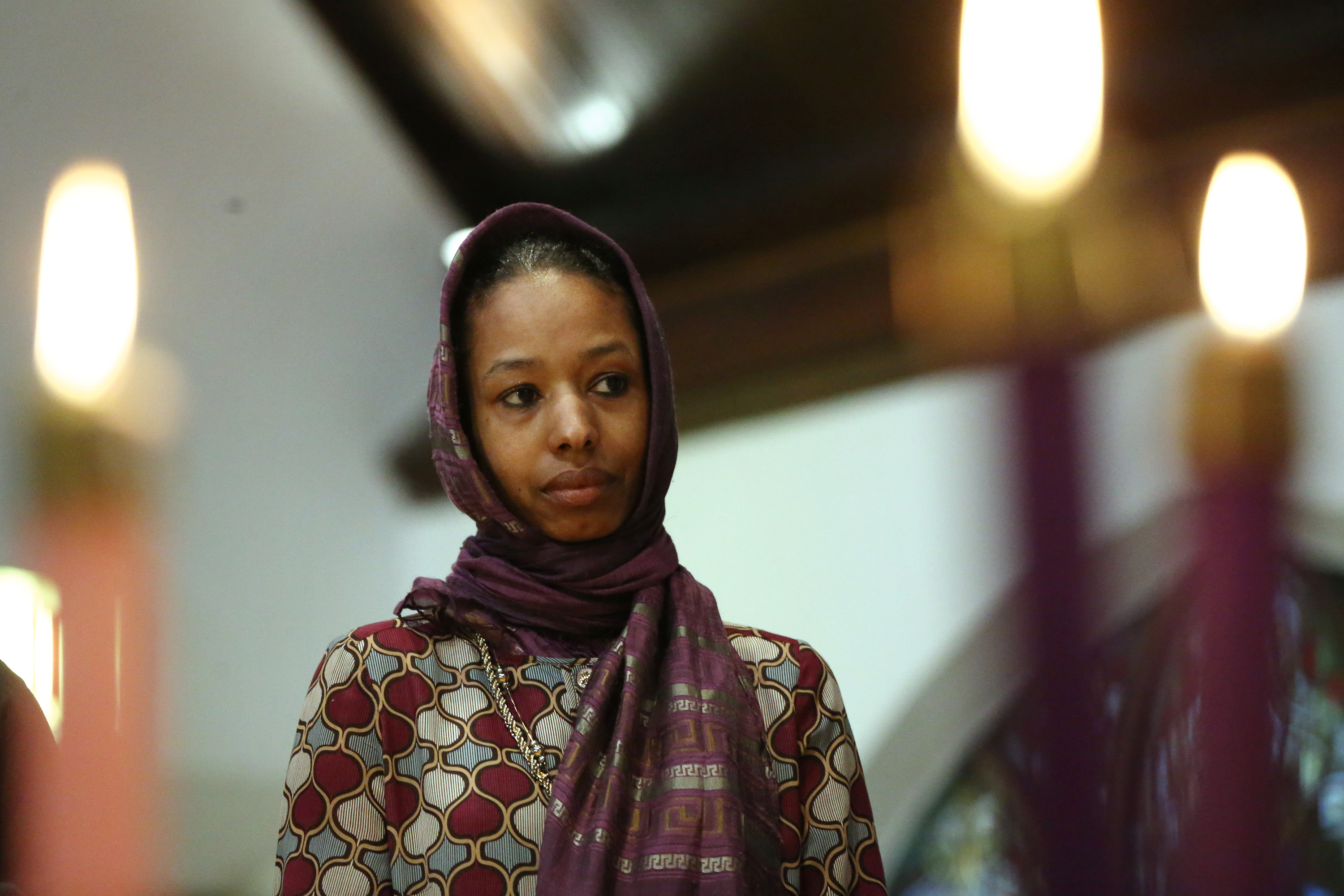 Larycia Hawkins, a Christian who is wearing a hijab over Advent in solidarity with Muslims, attends service at St. Martin Episcopal Church in Chicago on Dec. 13, 2015.