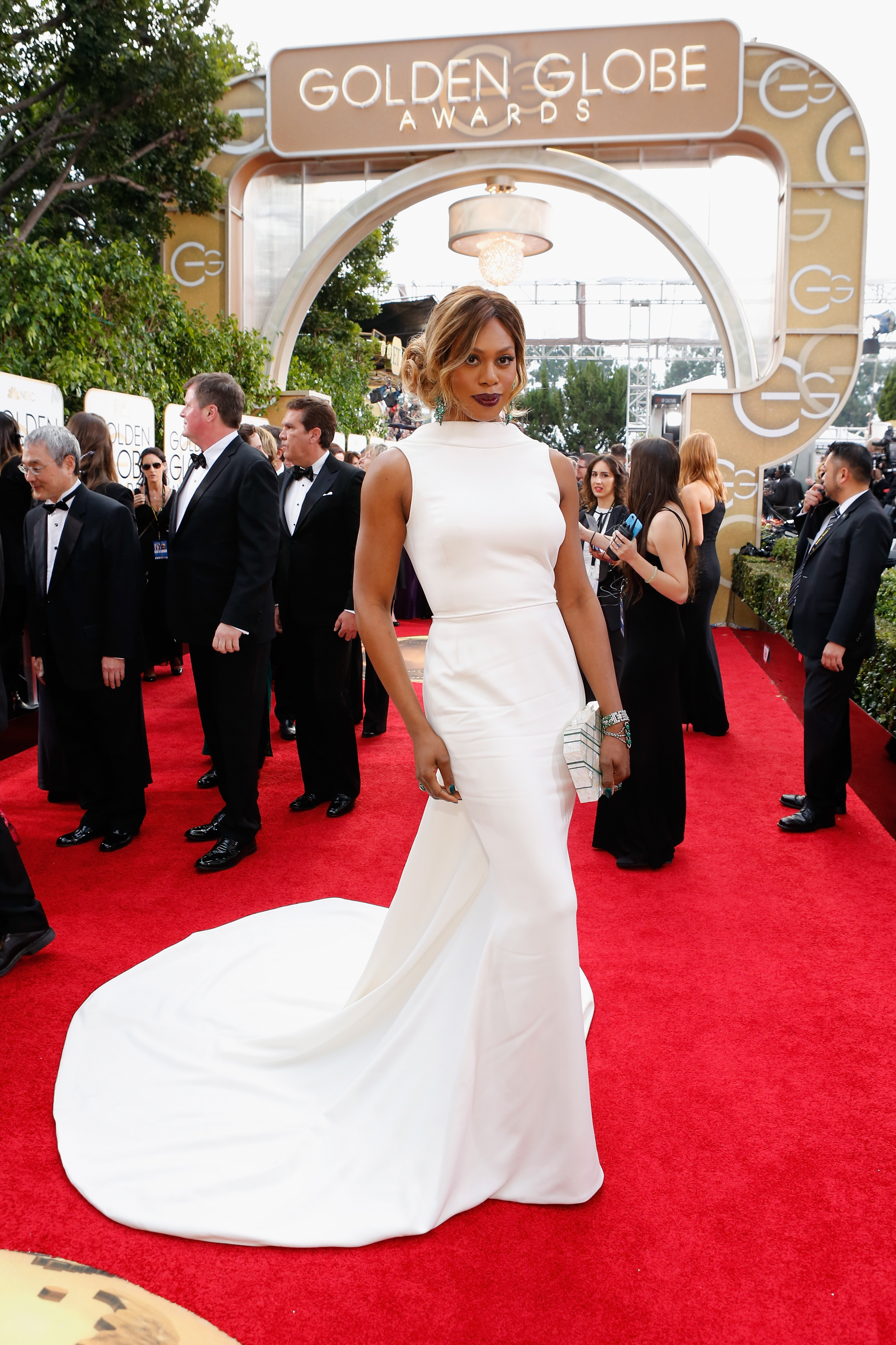 Laverne Cox arrives to the 73rd Annual Golden Globe Awards on Jan. 10, 2016 in Beverly Hills.