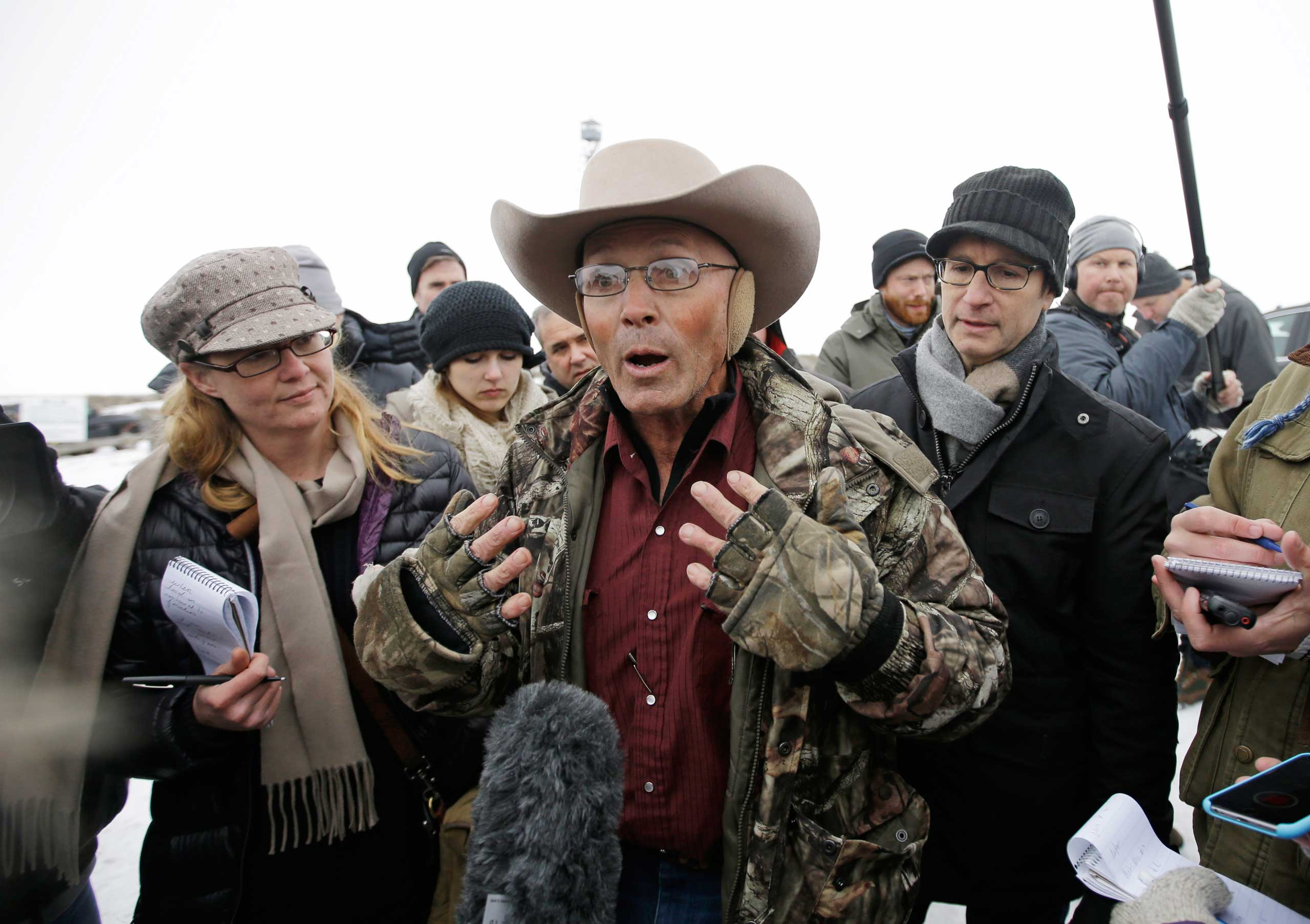 LaVoy Finicum, a rancher from Arizona who is part of the group occupying the Malheur National Wildlife Refuge, speaks during a news conference near Burns, Ore., on Jan. 5, 2016.