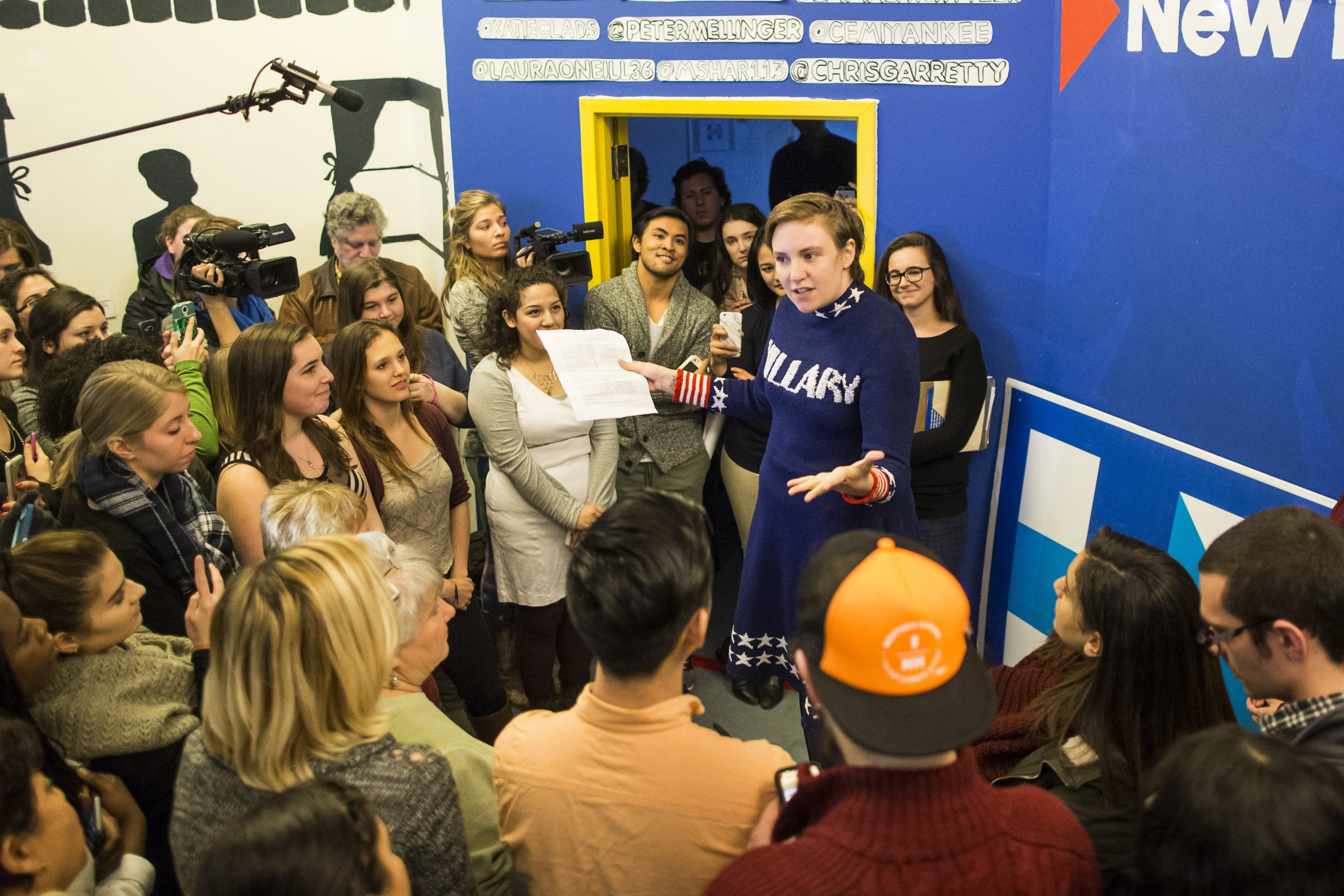 Lena Dunham speaks to a crowd at a Hillary Clinton campaign office in Manchester, NH on Jan. 8, 2016.