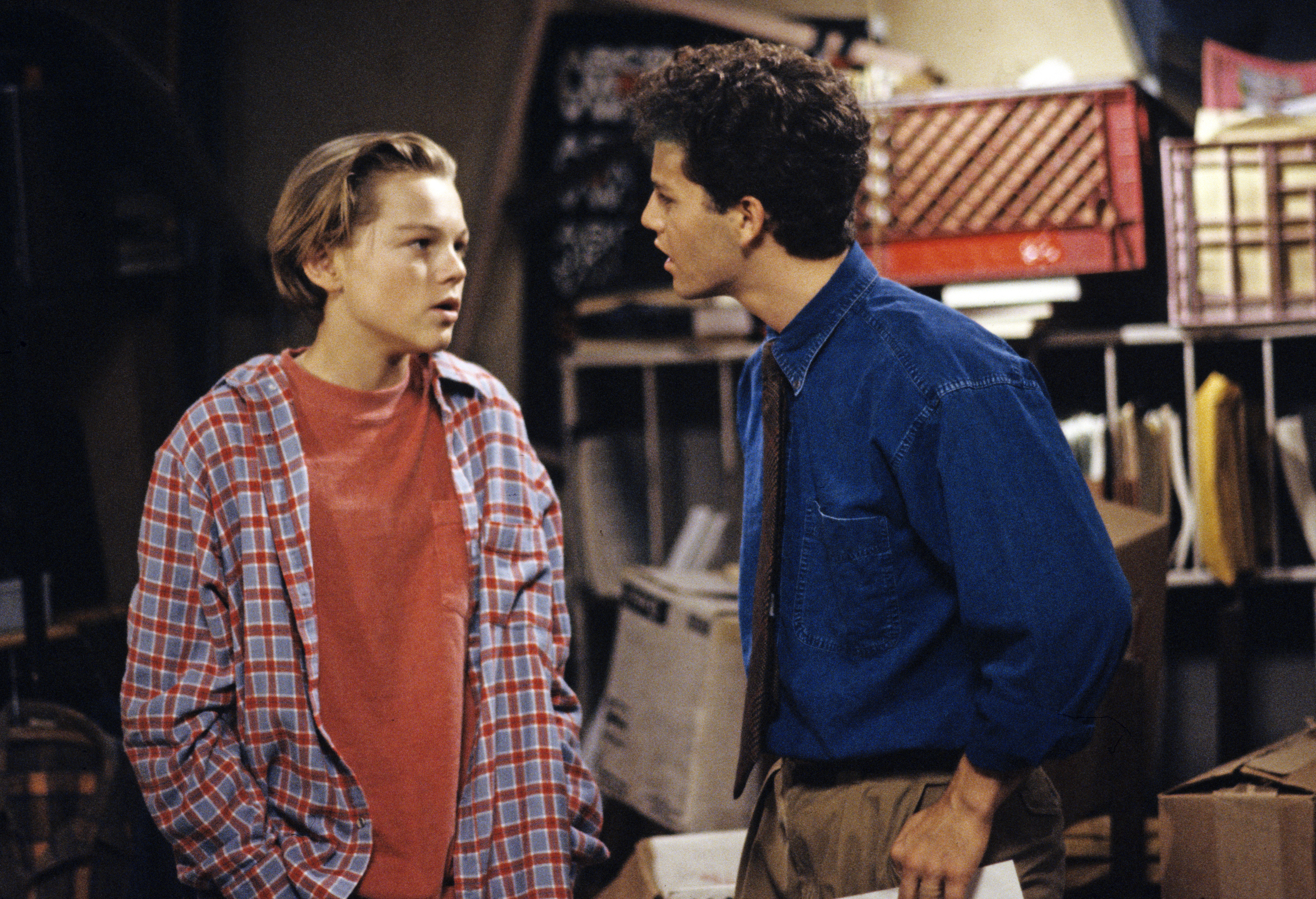 From left: Leonardo DiCaprio, as Luke Brower, and Kirk Cameron, as Mike Seaver, in <i>Growing Pains</i> in 1991.