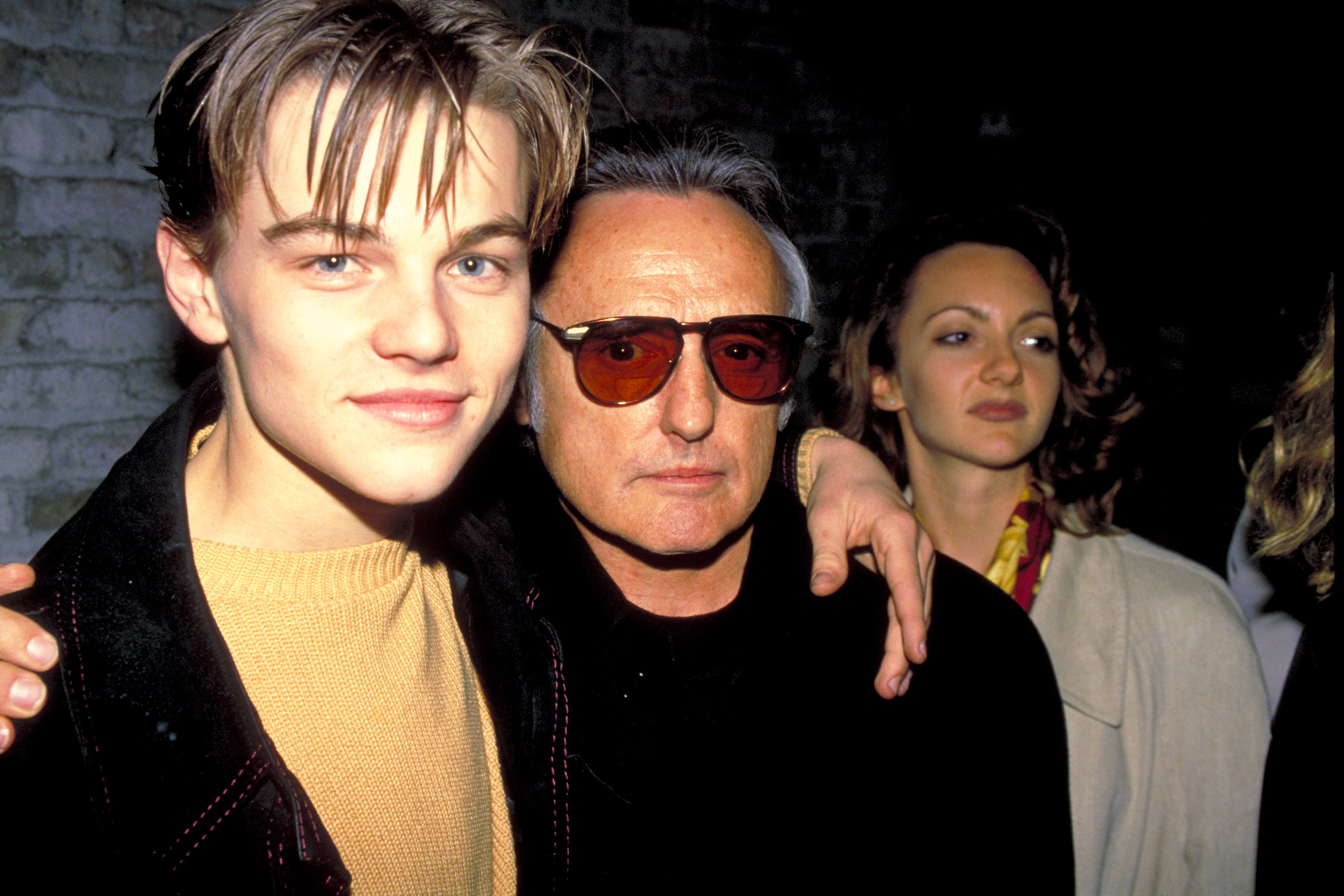 From left: Leonardo DiCaprio and Dennis Hopper in New York City on April 2, 1994.