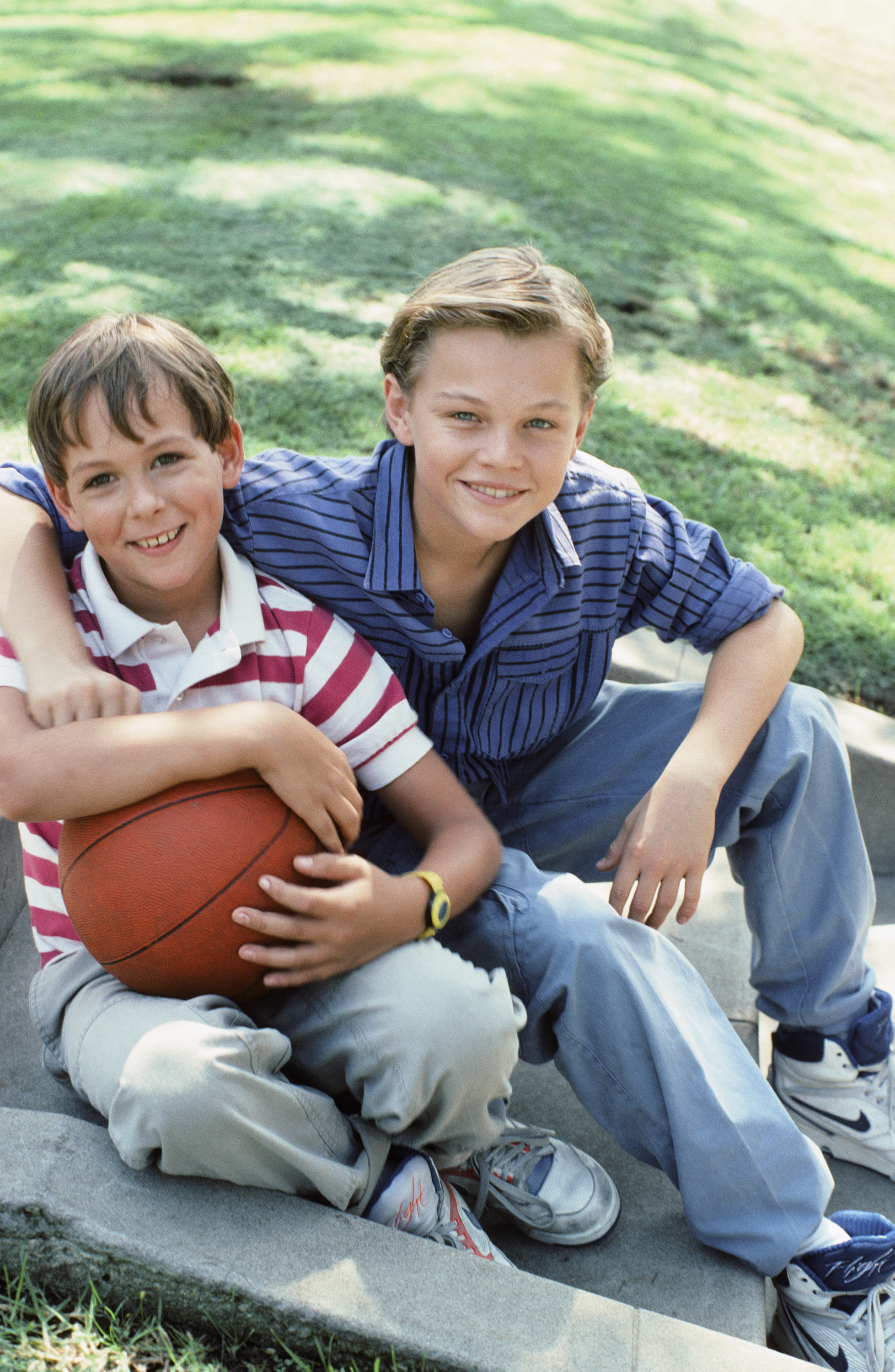 From left: Max Elliott Slade, as Kevin Buckman, and Leonardo DiCaprio, as Garry Buckman, in a promotional still for <i>Parenthood</i>, c. 1990.