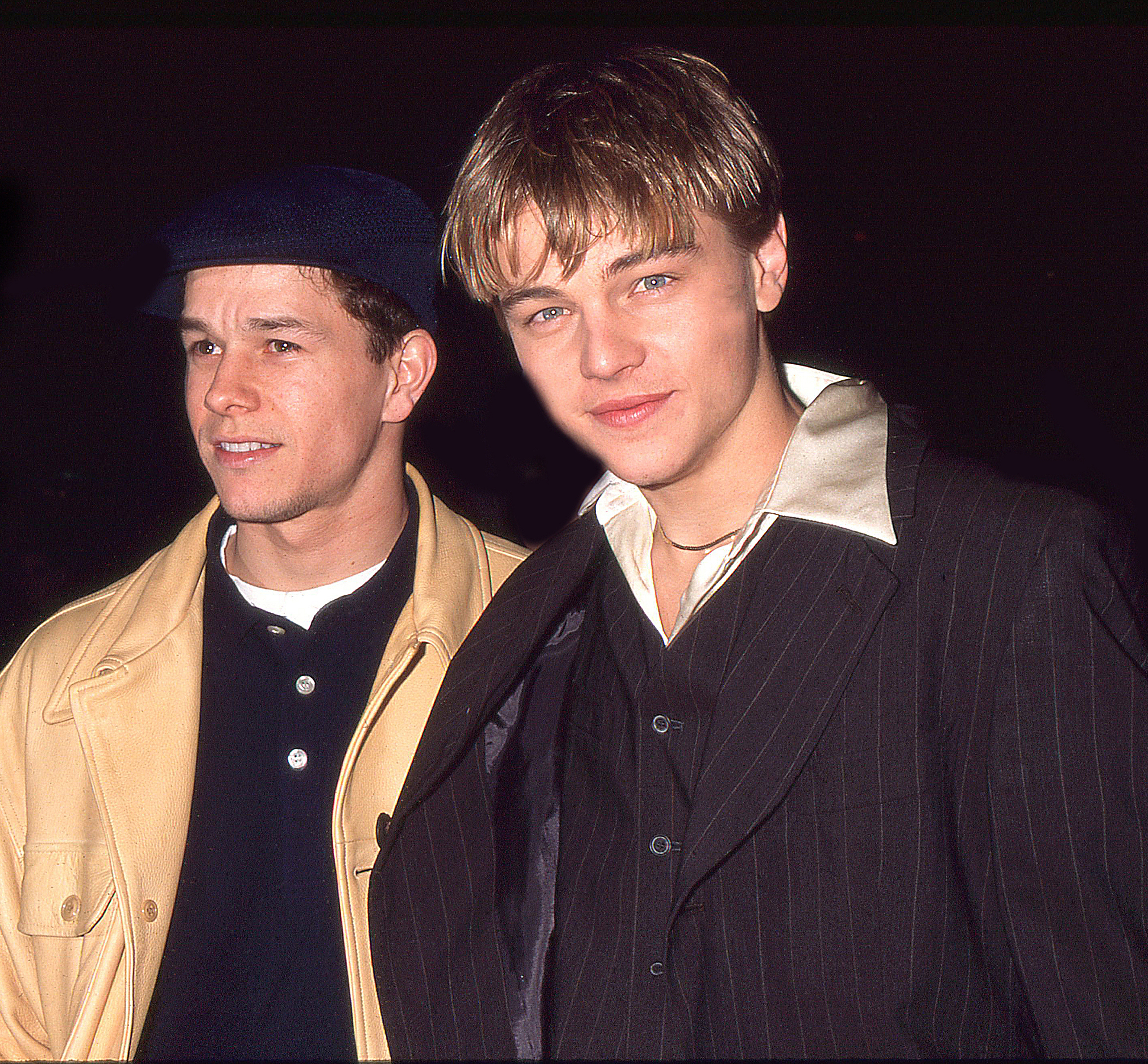 From left: Mark Wahlberg and Leonard DiCaprio attend the film premiere of <i>The Basketball Diaries</i> in New York City in 1995.