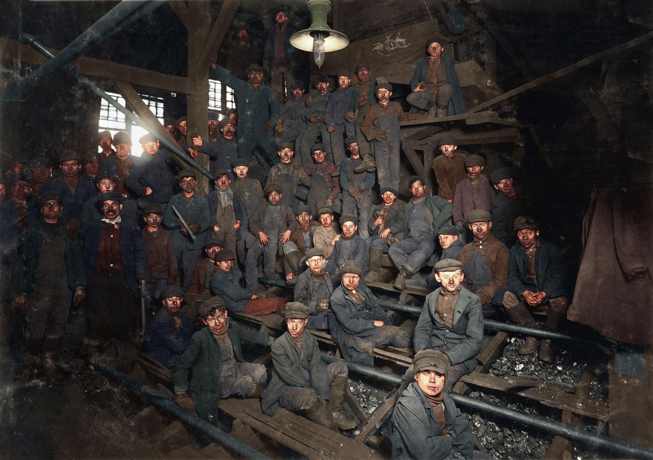 Noon hour in the Ewen Breaker, Pennsylvania Coal Co. Jan. 1911. South Pittston, Pennsylvania.