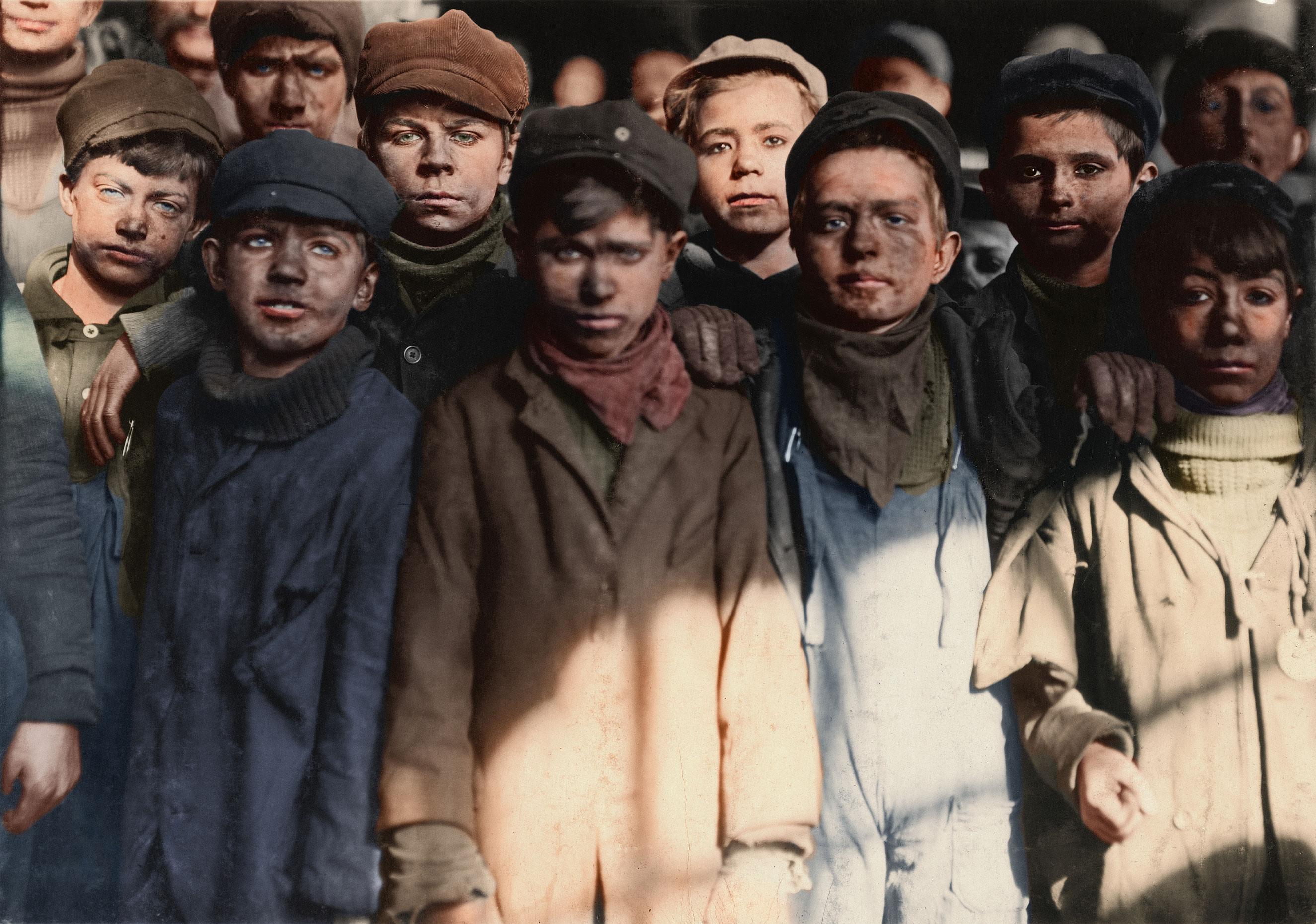 Group of Breaker Boys in #9 Breaker, Hughestown Borough, Pennsylvania Coal Co. Smallest boy is Angelo Ross. Jan. 1911. Pittston, Pennsylvania.