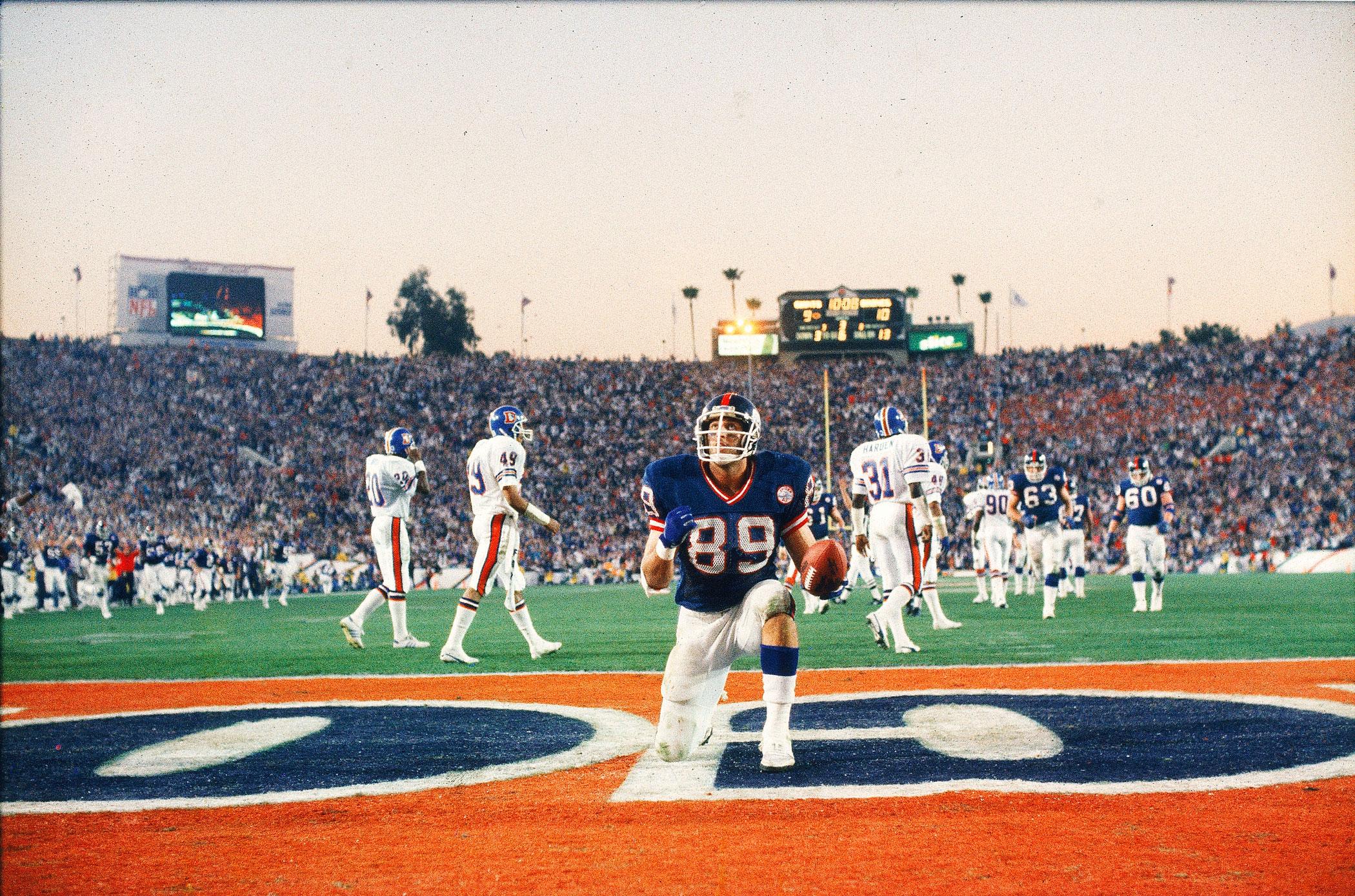 Super Bowl XXI, Jan. 25, 1987                               New York Giants vs Denver Broncos in Pasadena, Calif.