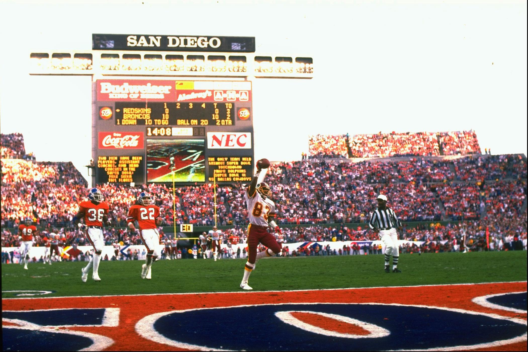 Super Bowl XXII, Jan. 31, 1988                               Washington Redskins vs Denver Broncos in San Diego