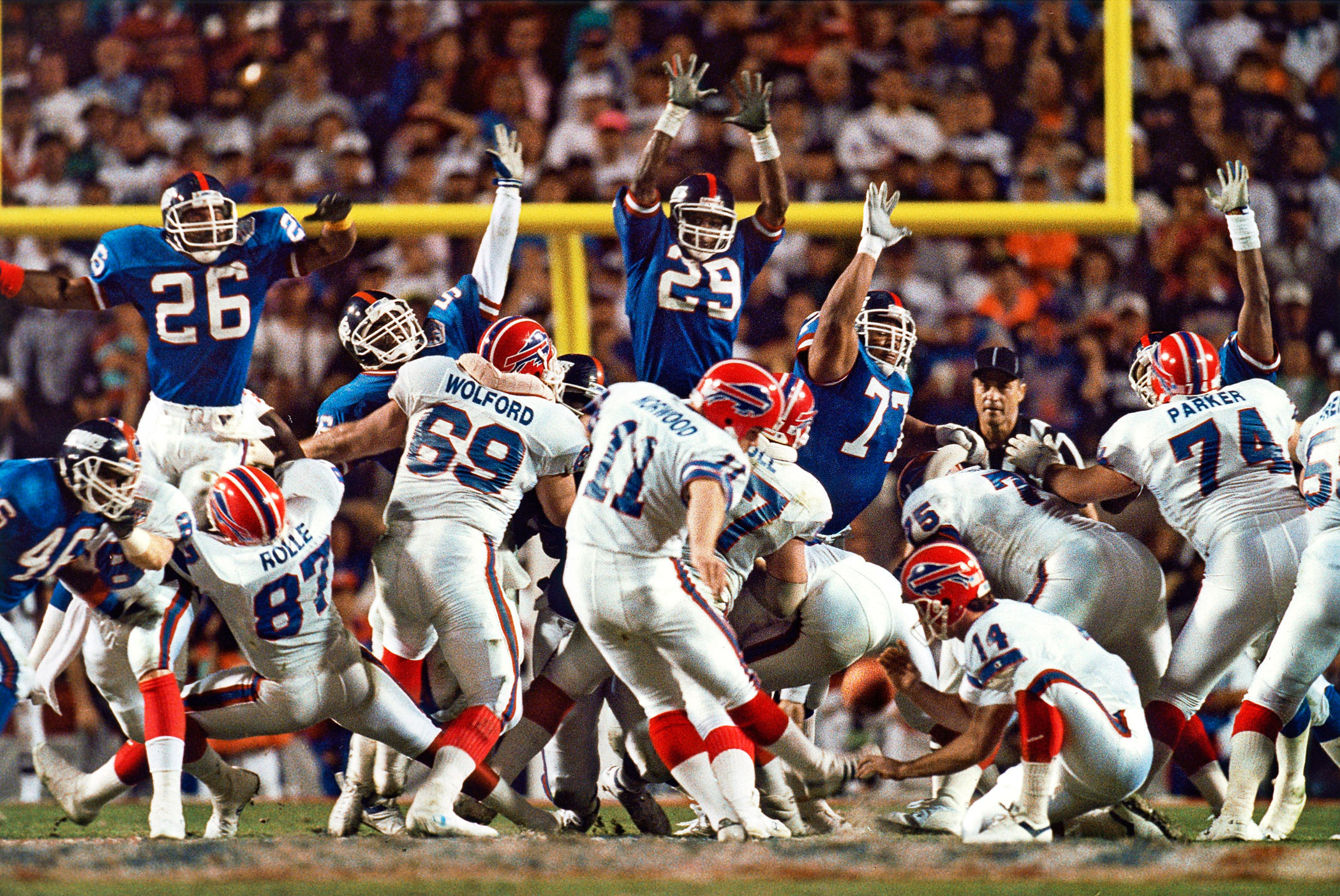 Super Bowl XXV, Jan. 27, 1991                               Buffalo Bills vs New York Giants in Tampa, Fla.