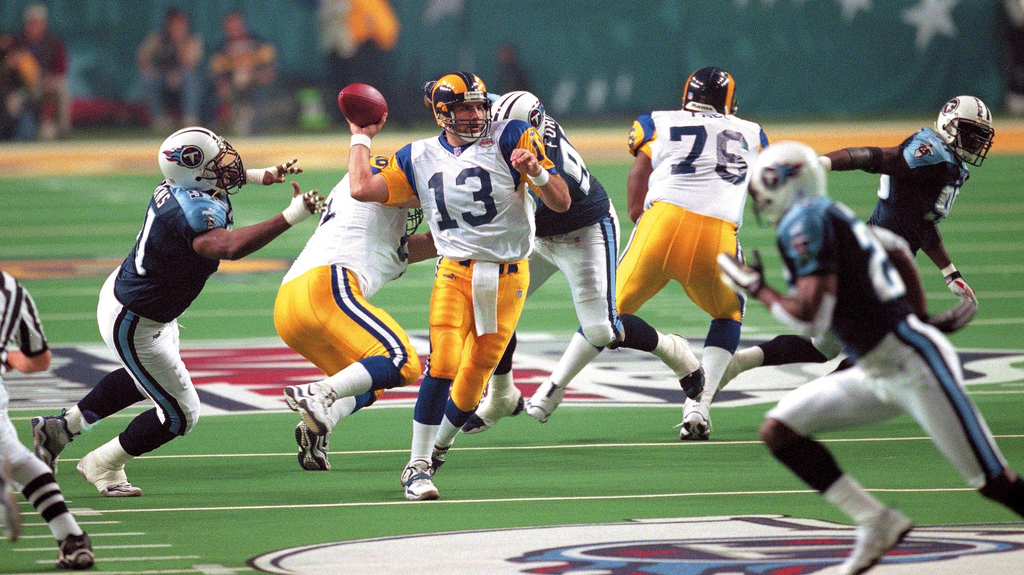 Super Bowl XXXIV, Jan. 20, 2000                               St. Louis Rams vs Tennessee Titans in Atlanta