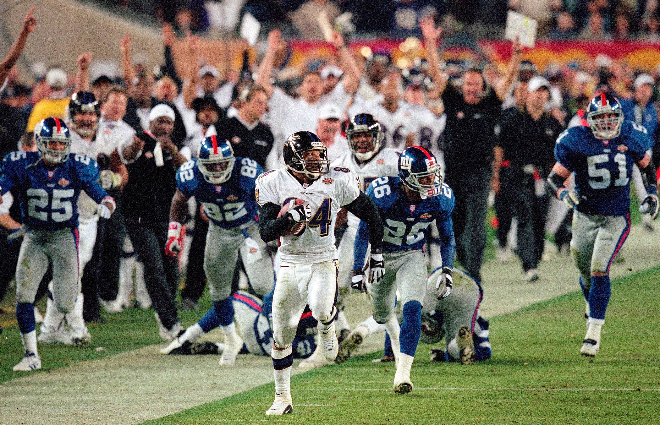 Super Bowl XXXV, Jan. 28, 2001                               Baltimore Ravens vs New York Giants in Tampa, Fla.