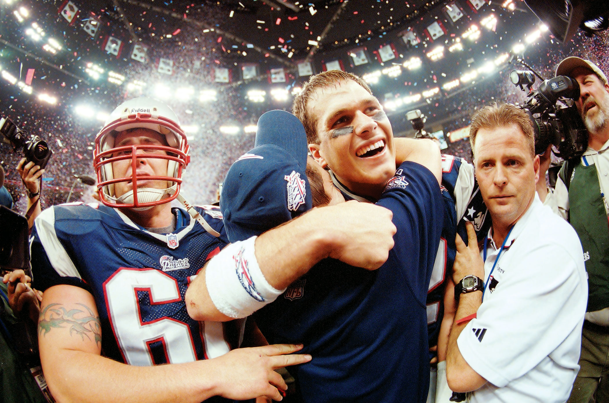 Super Bowl XXXVI, Feb. 3, 2002                               New England Patriots vs St. Louis Rams in New Orleans