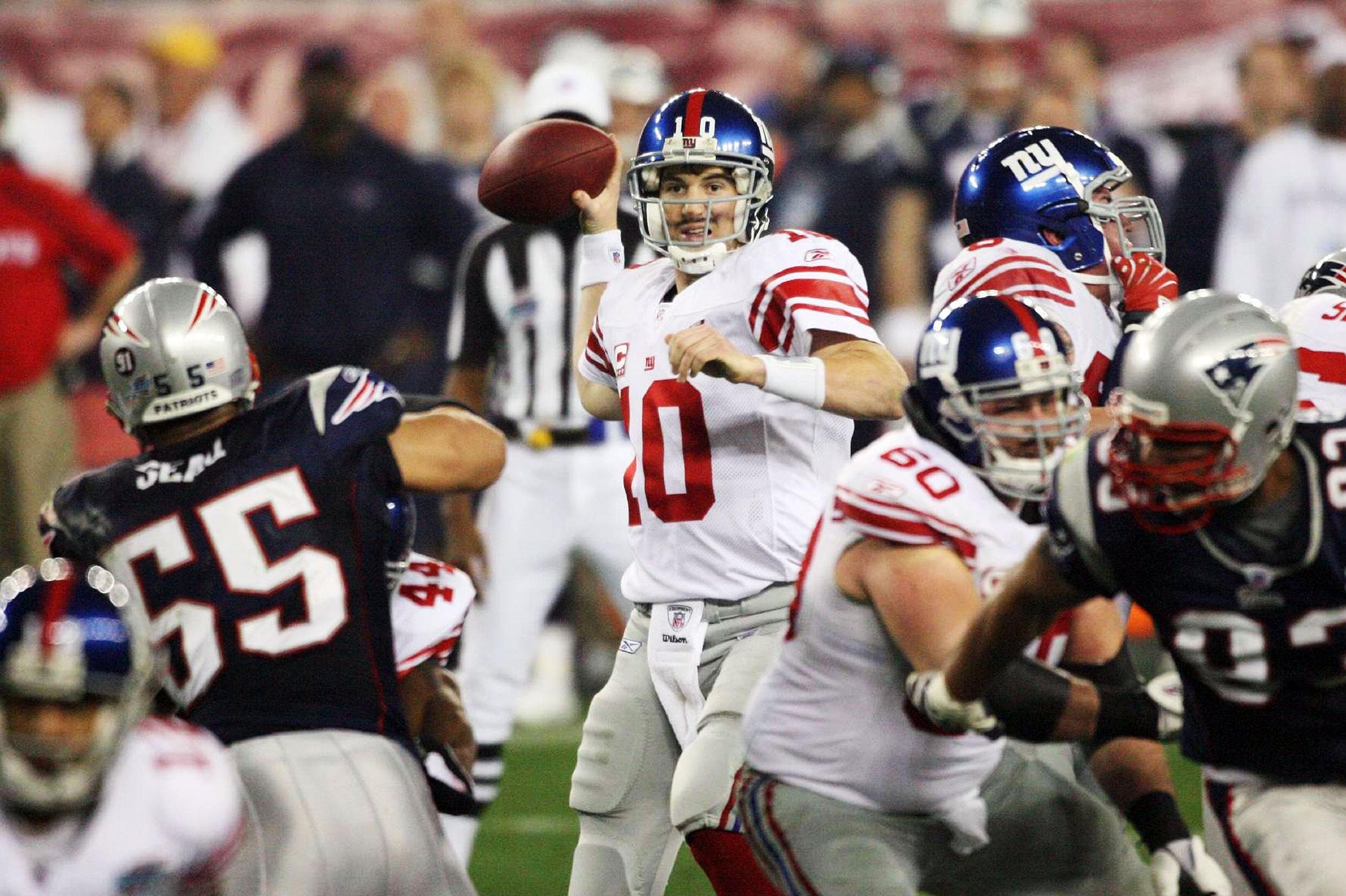Super Bowl XLII, Feb. 3, 2008                               New York Giants vs New England Patriots in Glendale, Ariz.