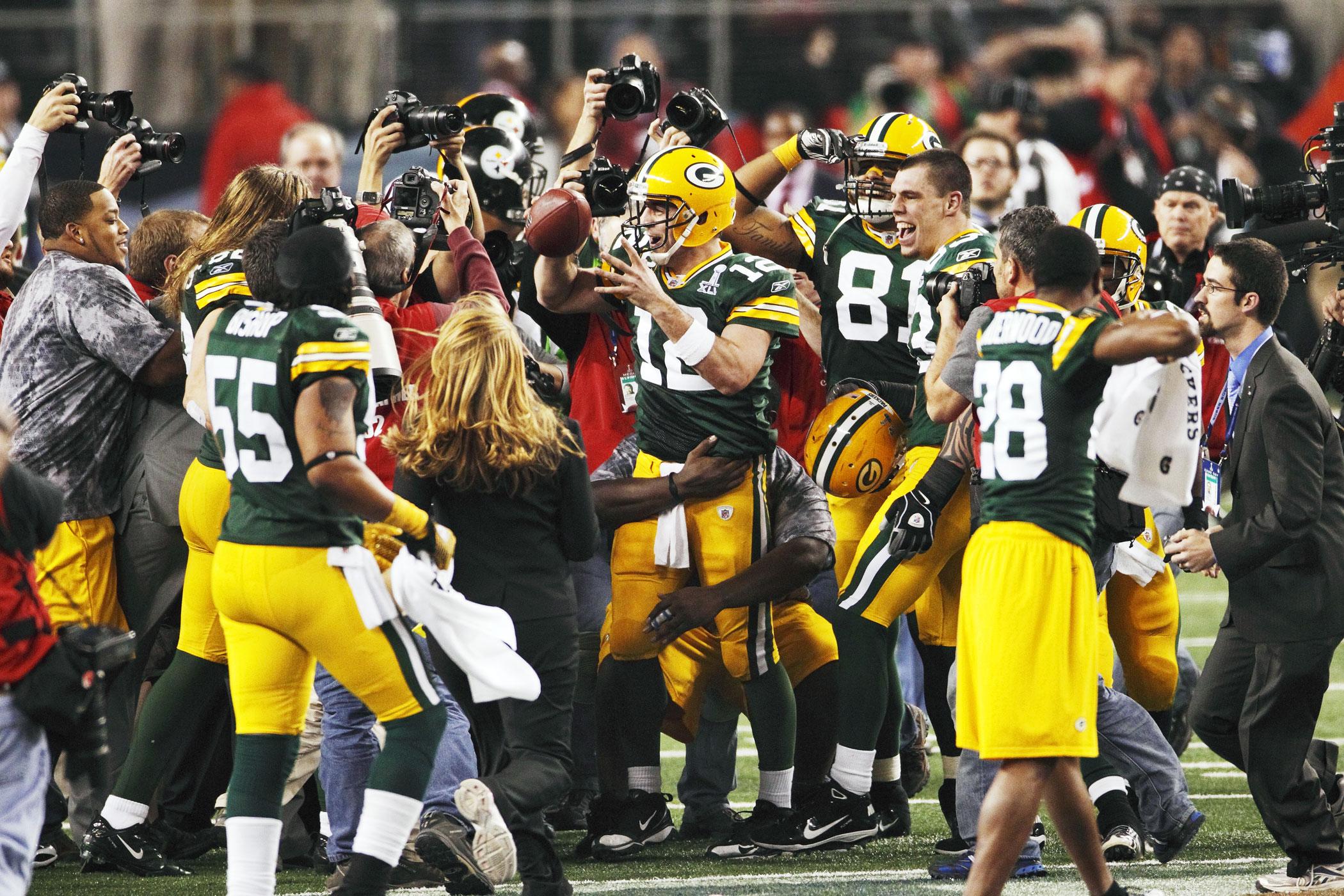 Super Bowl XLV, Feb. 6, 2011                               Green Bay Packers vs Pittsburgh Steelers in Arlington, Texas