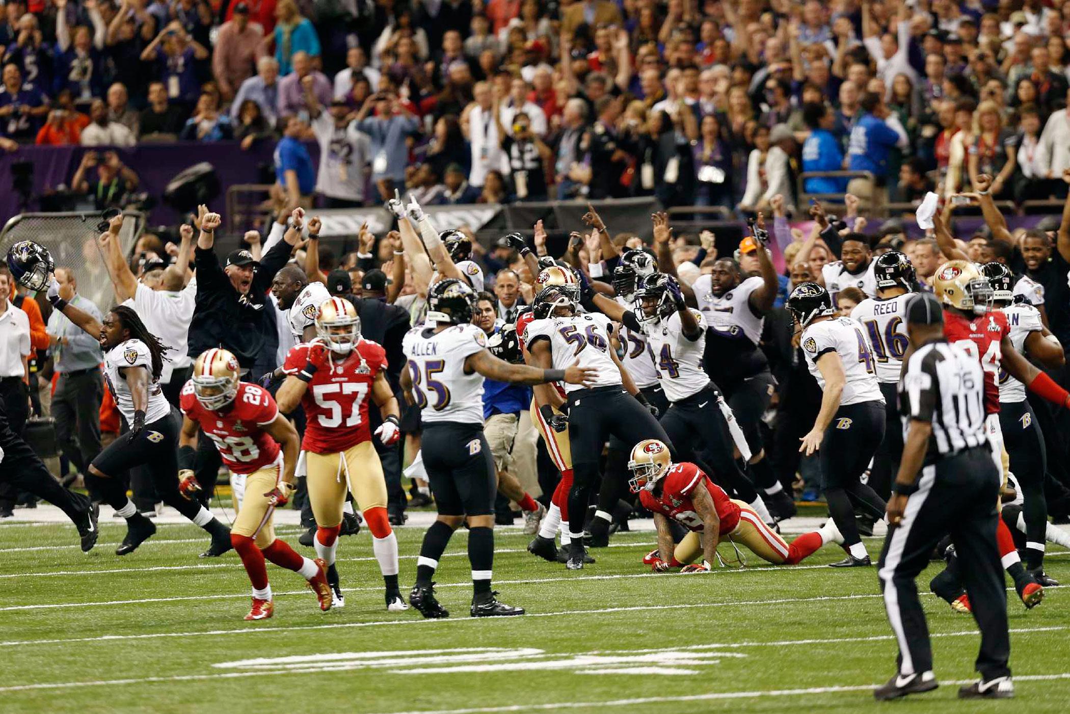 Super Bowl XLVII, Feb. 3, 2013                               Baltimore Ravens vs. San Francisco 49ers in New Orleans