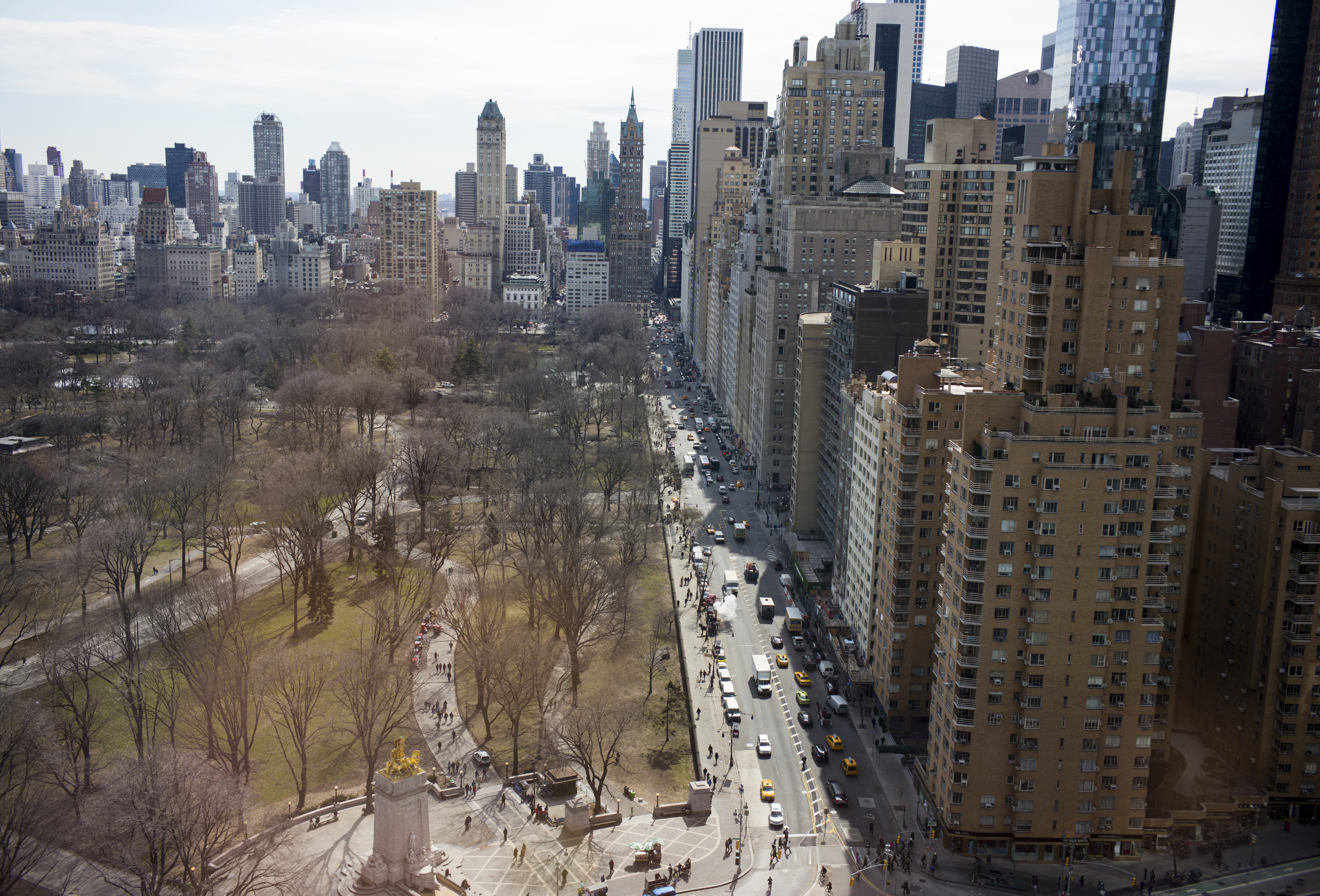 Luxury high-rise apartments are viewed across Central Park South near Columbus Circle in Manhattan.