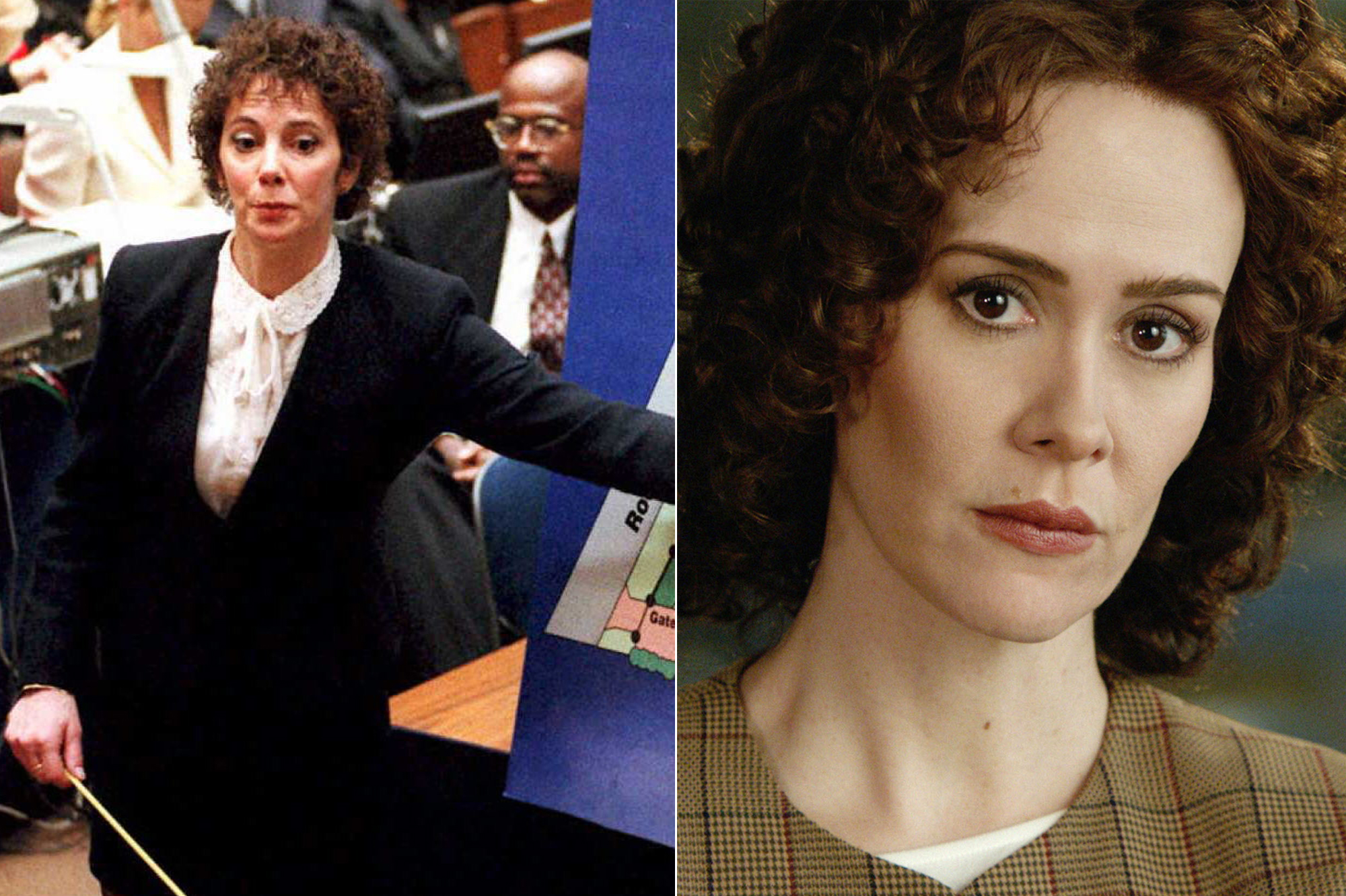 Left: Prosecutor Marcia Clark; Right: Sarah Paulson.