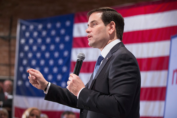 Republican presidential candidate Sen. Marco Rubio (R-FL) speaks to guests during a rally on January 6, 2016 in Marshalltown, Iowa.