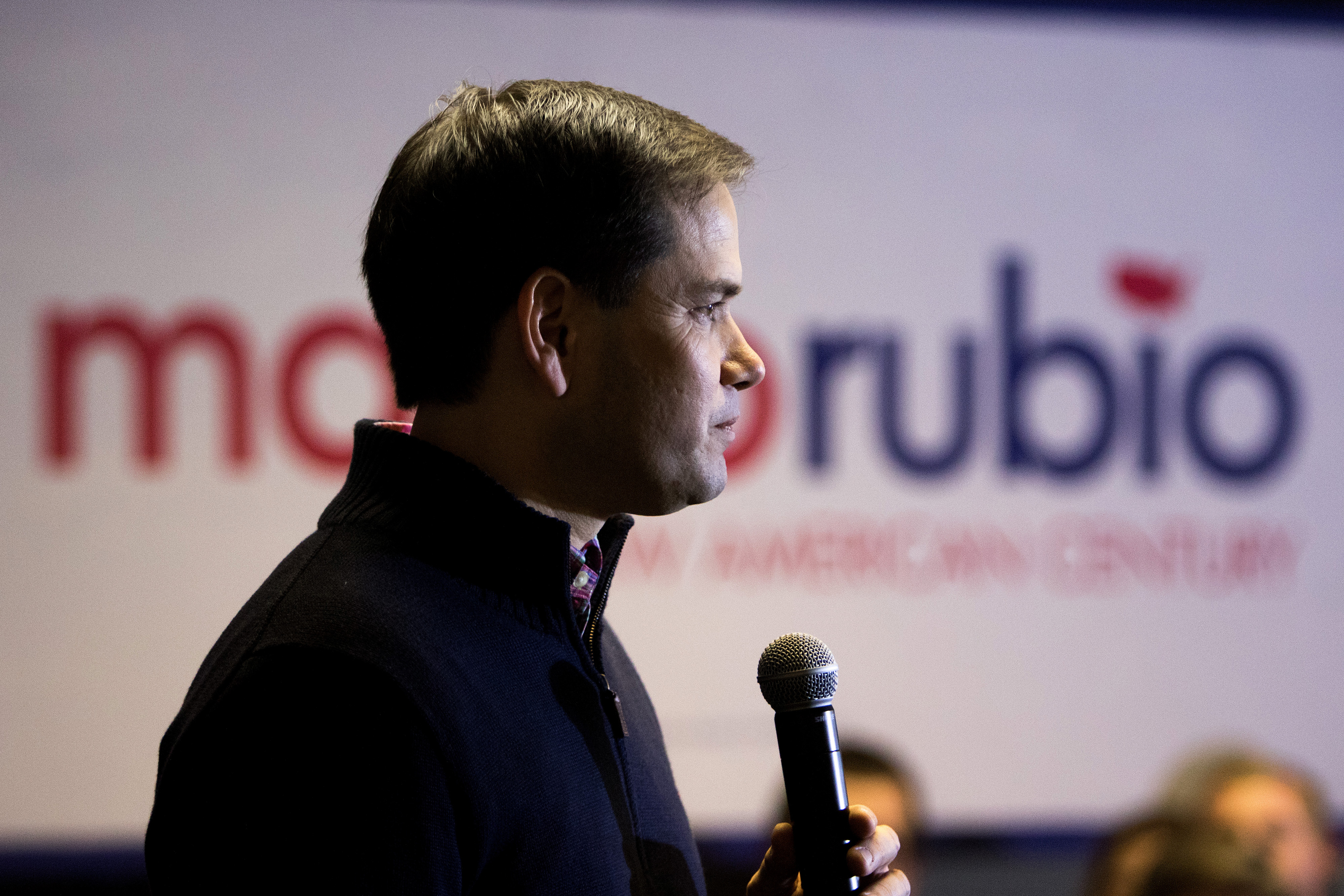 Marco Rubio speaks during a town hall meeting at the Pella Golf and Country Club in Pella, Iowa on Dec. 30, 2015.