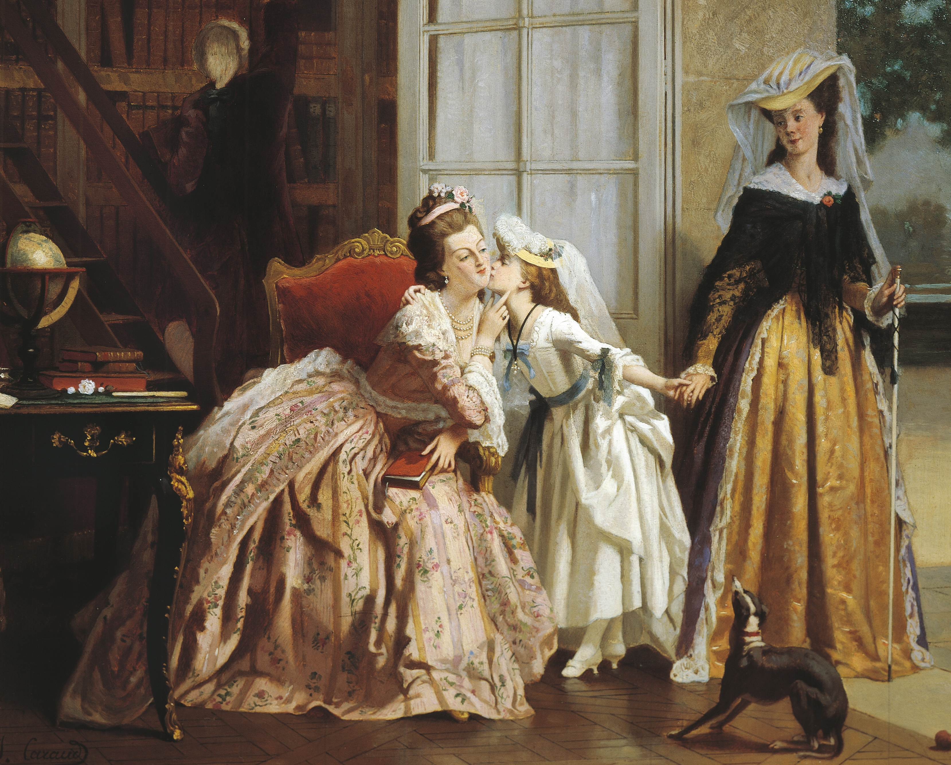 Marie Antoinette and her daughter, in a painting by Joseph Caraud.