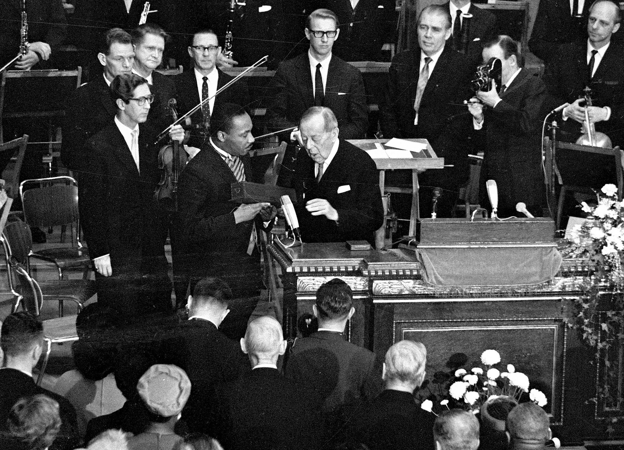 U.S. civil rights leader Rev. Dr. Martin Luther King receives the Nobel Peace Prize from Gunnar Jahn, chairman of the Nobel Committee, in Oslo, on Dec. 10, 1964.