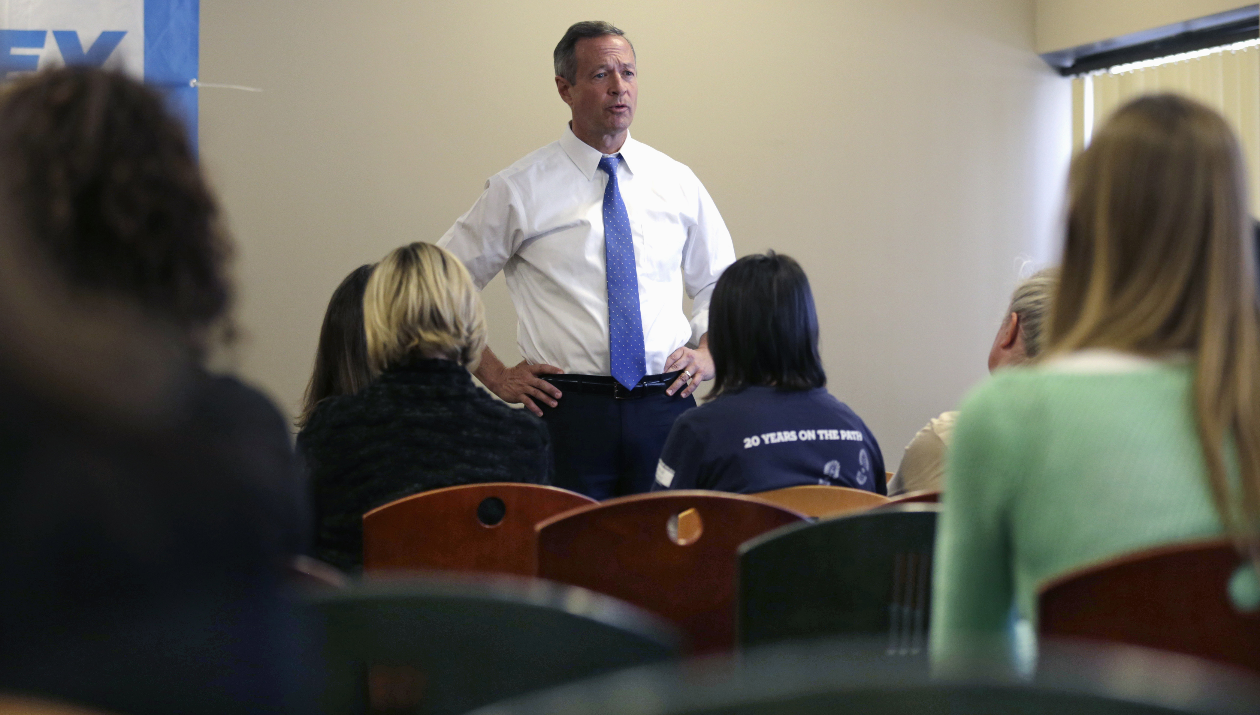 Democratic presidential candidate, former Maryland Gov. Martin O'Malley talks with employees during a campaign stop at at the Timberland apparel company in Stratham, N.H., Thursday, Jan. 21, 2016.
