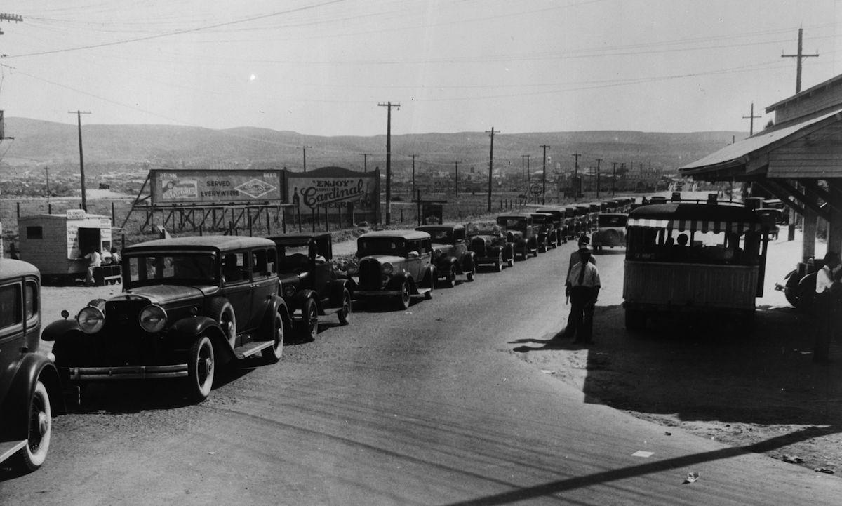 Cars queuing to cross the border into Mexico at Tijuana circa 1930