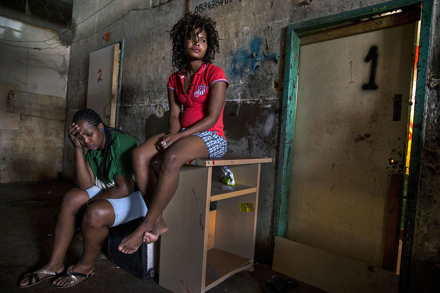African migrant residents at one of the  derelict buildings, May 22, 2015.