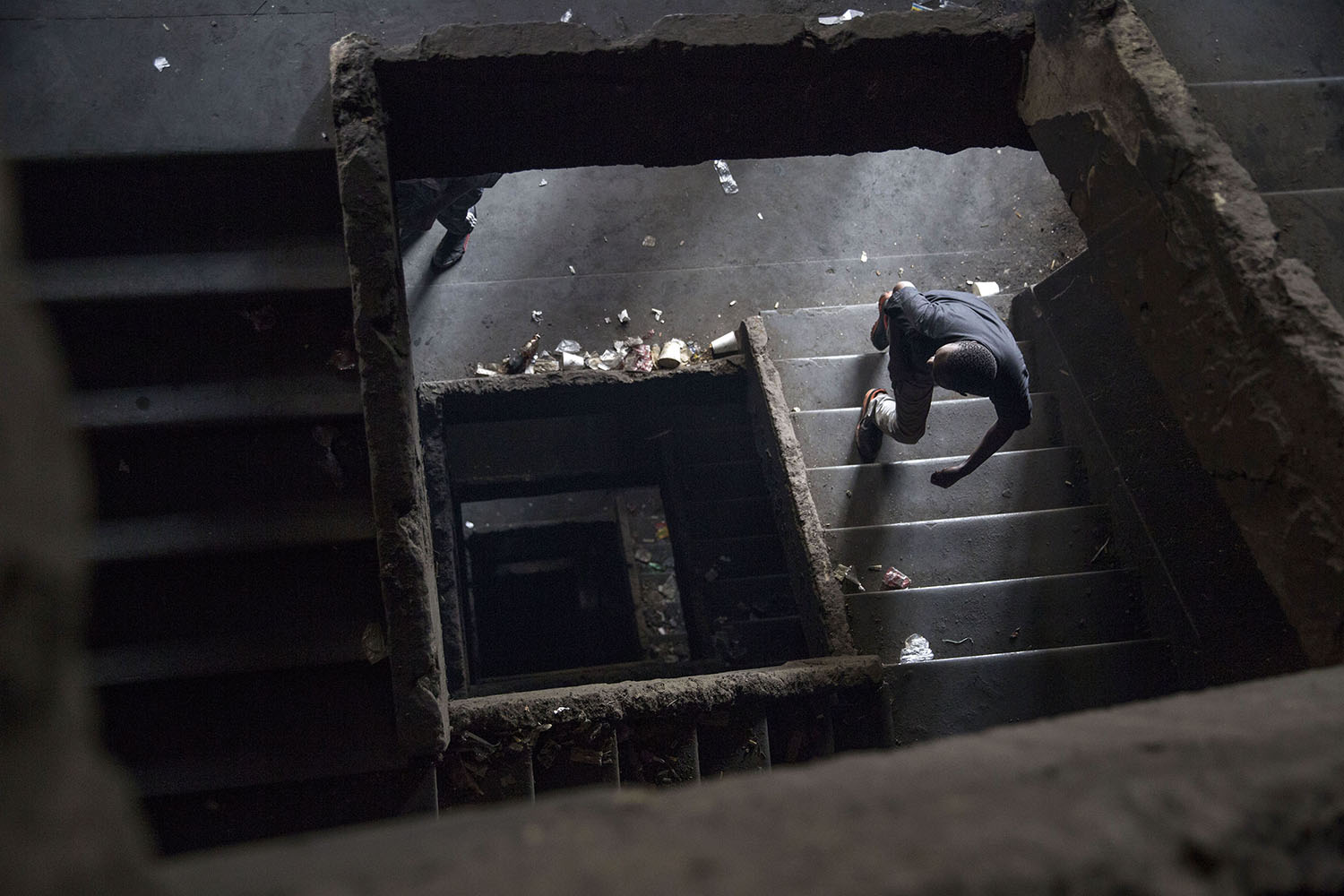 A view of one of the damaged stairwells, Aug. 2, 2015.