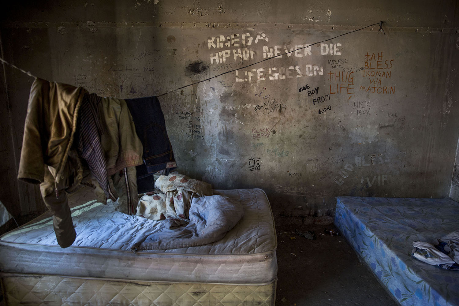 A room that houses several African migrants, July 17, 2015.