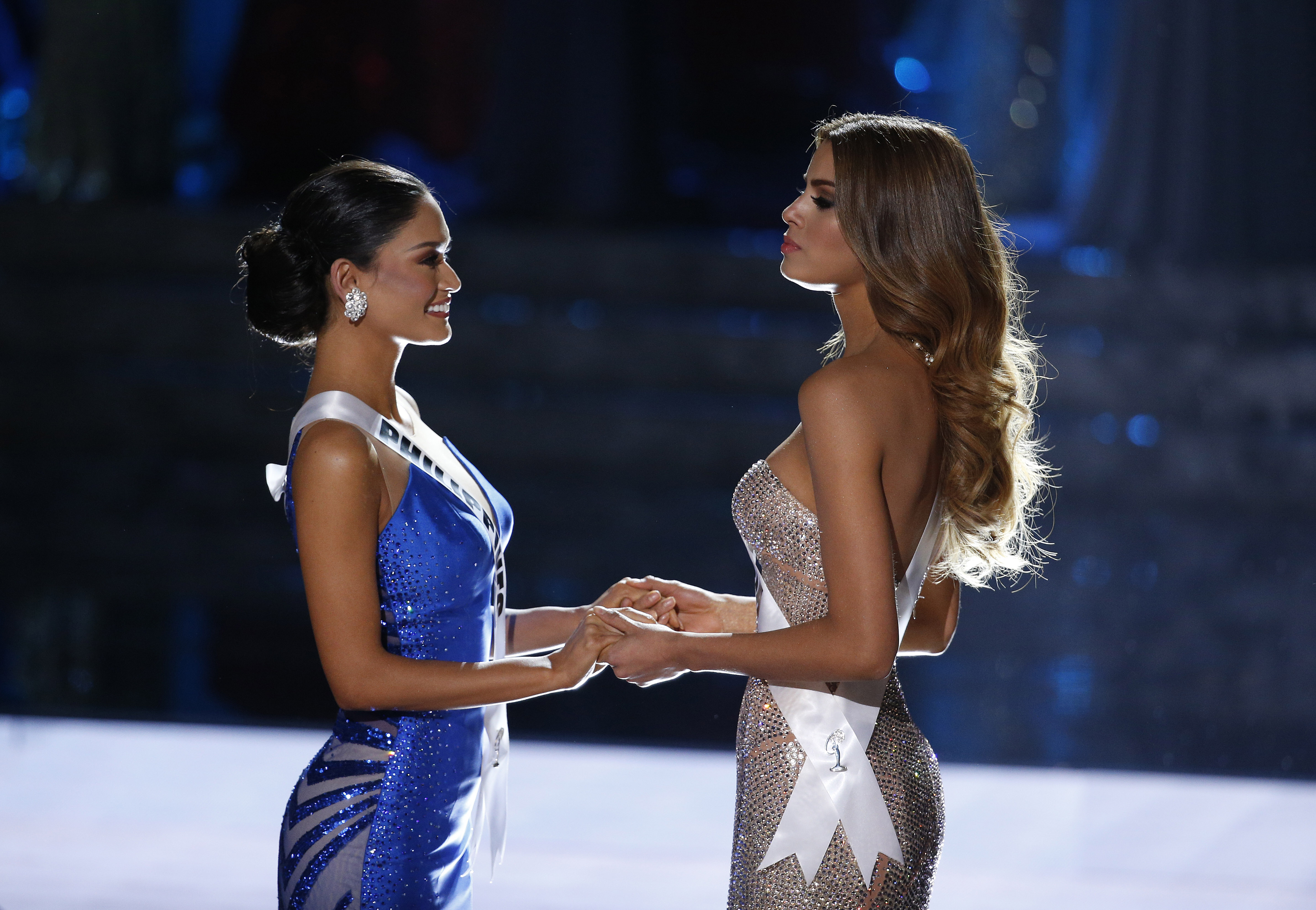 Miss Colombia Ariadna Gutierrez, right, and Miss Philippines Pia Alonzo Wurtzbach wait for the announcer to name the new Miss Universe at the Miss Universe pageant in Las Vegas on Dec. 20, 2015.