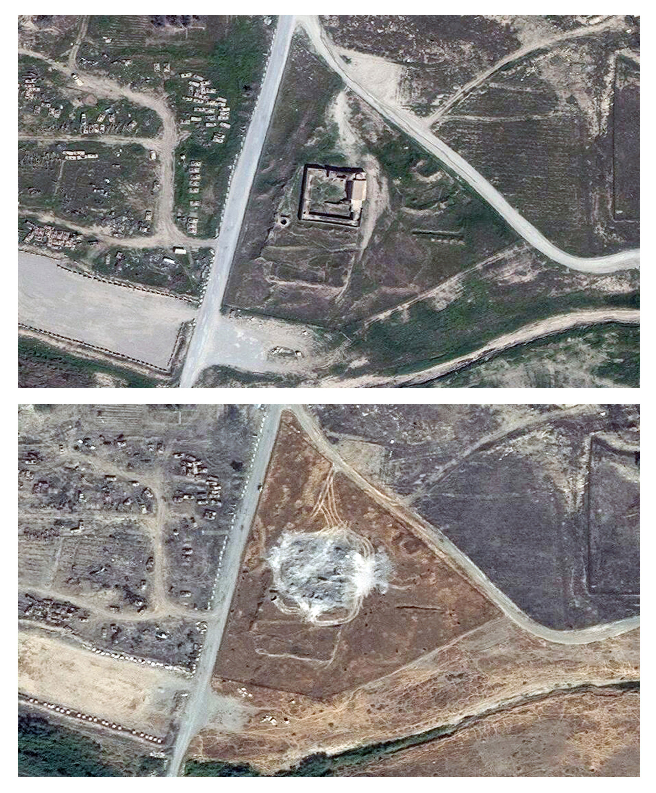 This combination of two satellite images, taken on March 31, 2011, and Sept. 28, 2014, shows the site of the 1,400-year-old Christian monastery known as St. Elijah's on the outskirts of Mosul, Iraq.