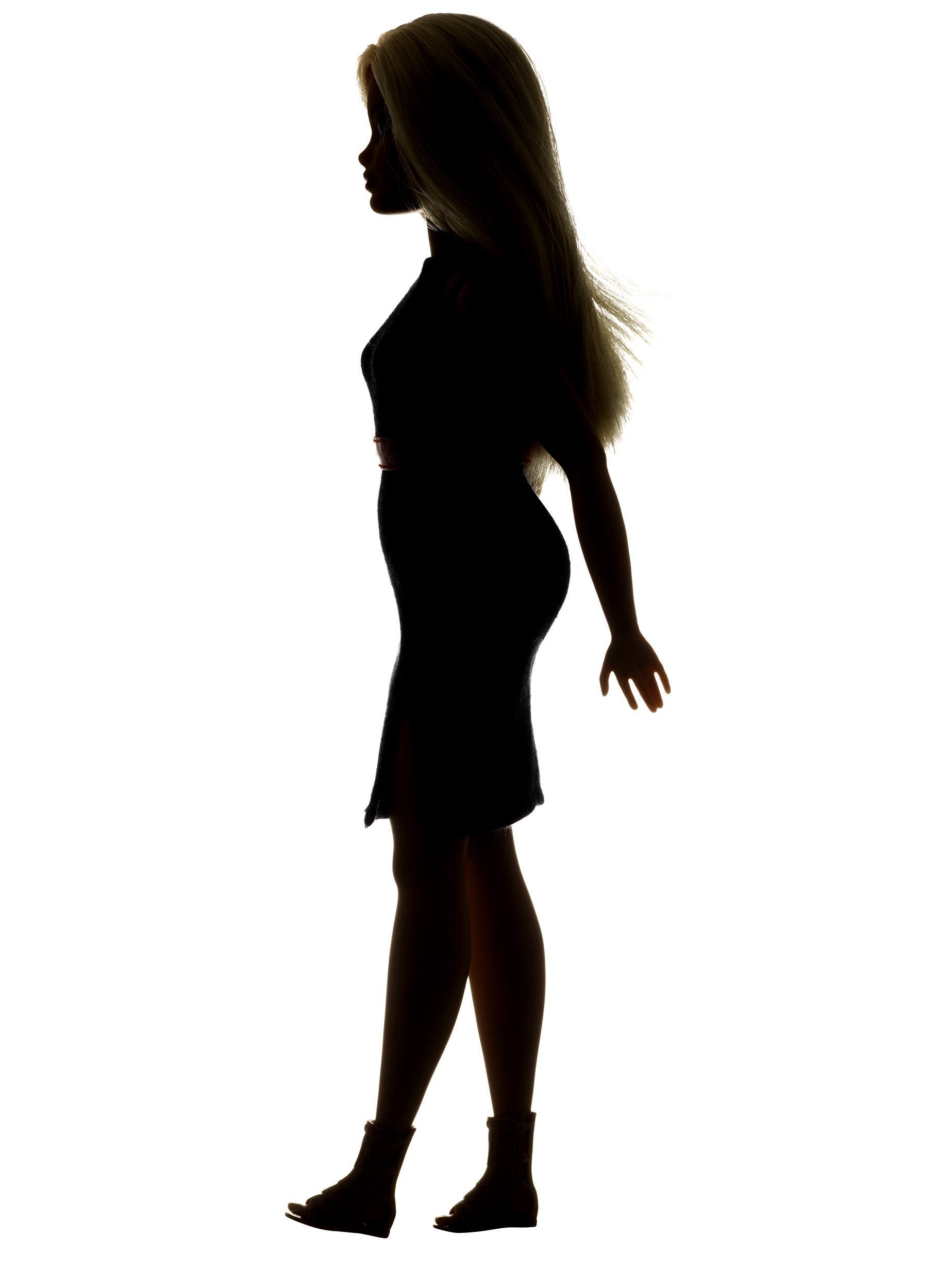 A silhouette of Mattel's new Curvy Barbie