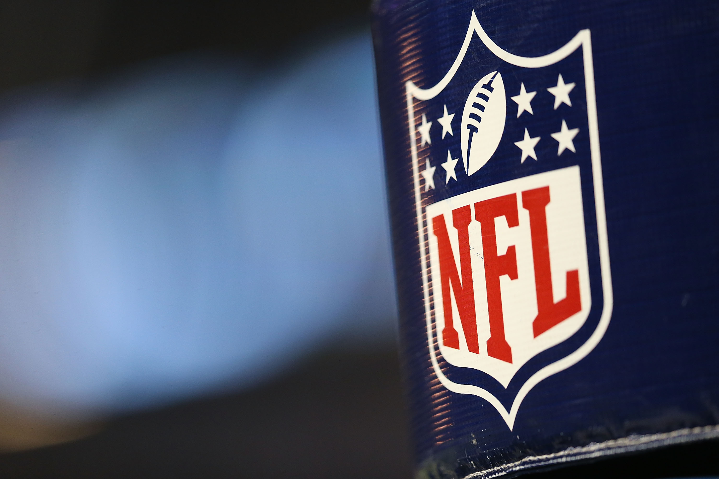 The NFL Logo at Ford Field in Detroit, Michigan on Aug. 22, 2014.