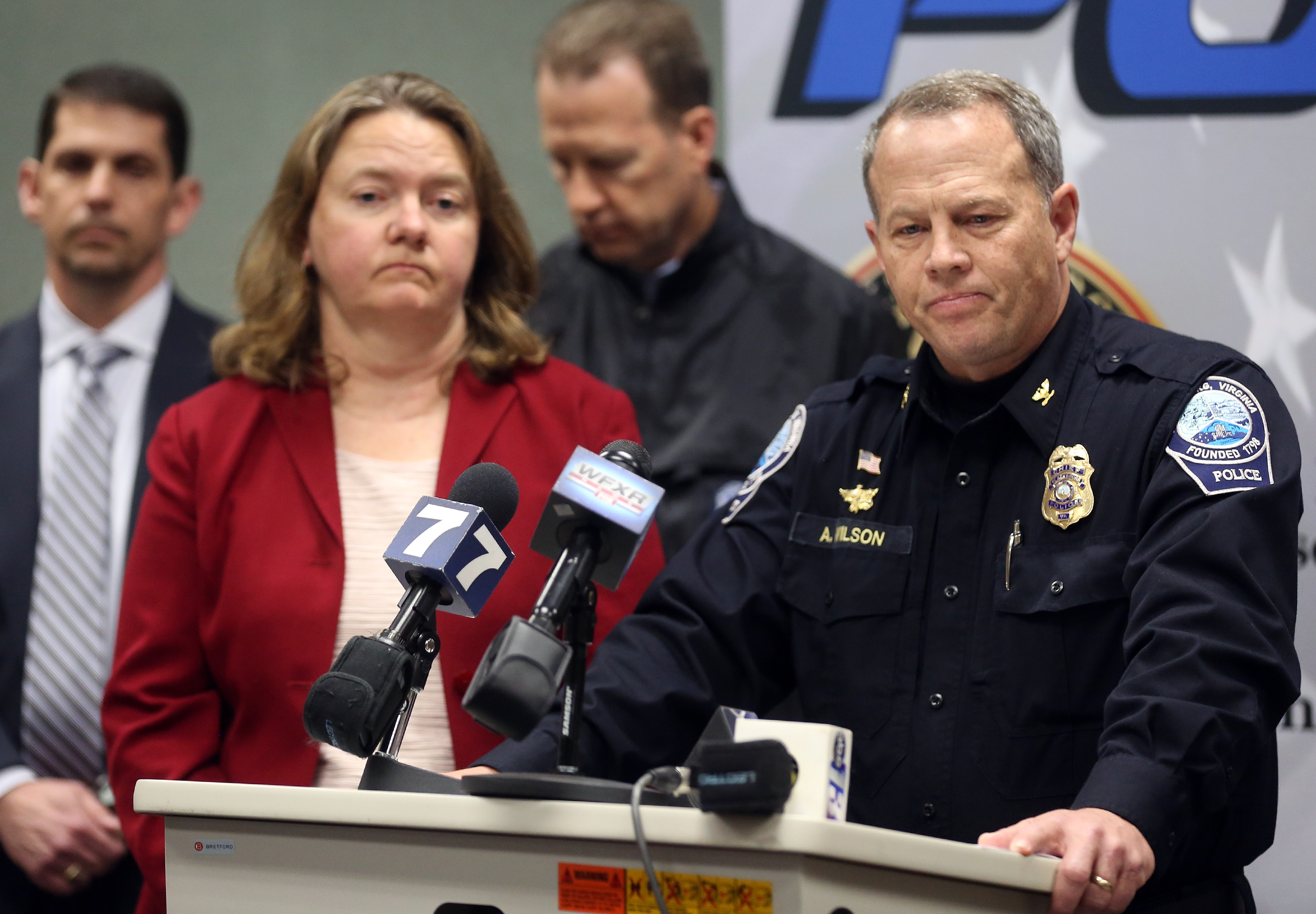 Montgomery County Commonwealth's Attorney Mary Pettitt (L) and Blacksburg Police Chief Anthony Wilson at a news conference in Blacksburg Va. on Jan. 30, 2016.
