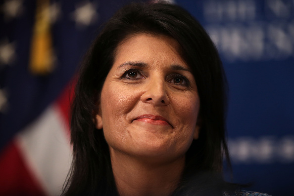 South Carolina Governor Nikki Haley addresses a Newsmaker Luncheon at the National Press Club September 2, 2015 in Washington, DC.