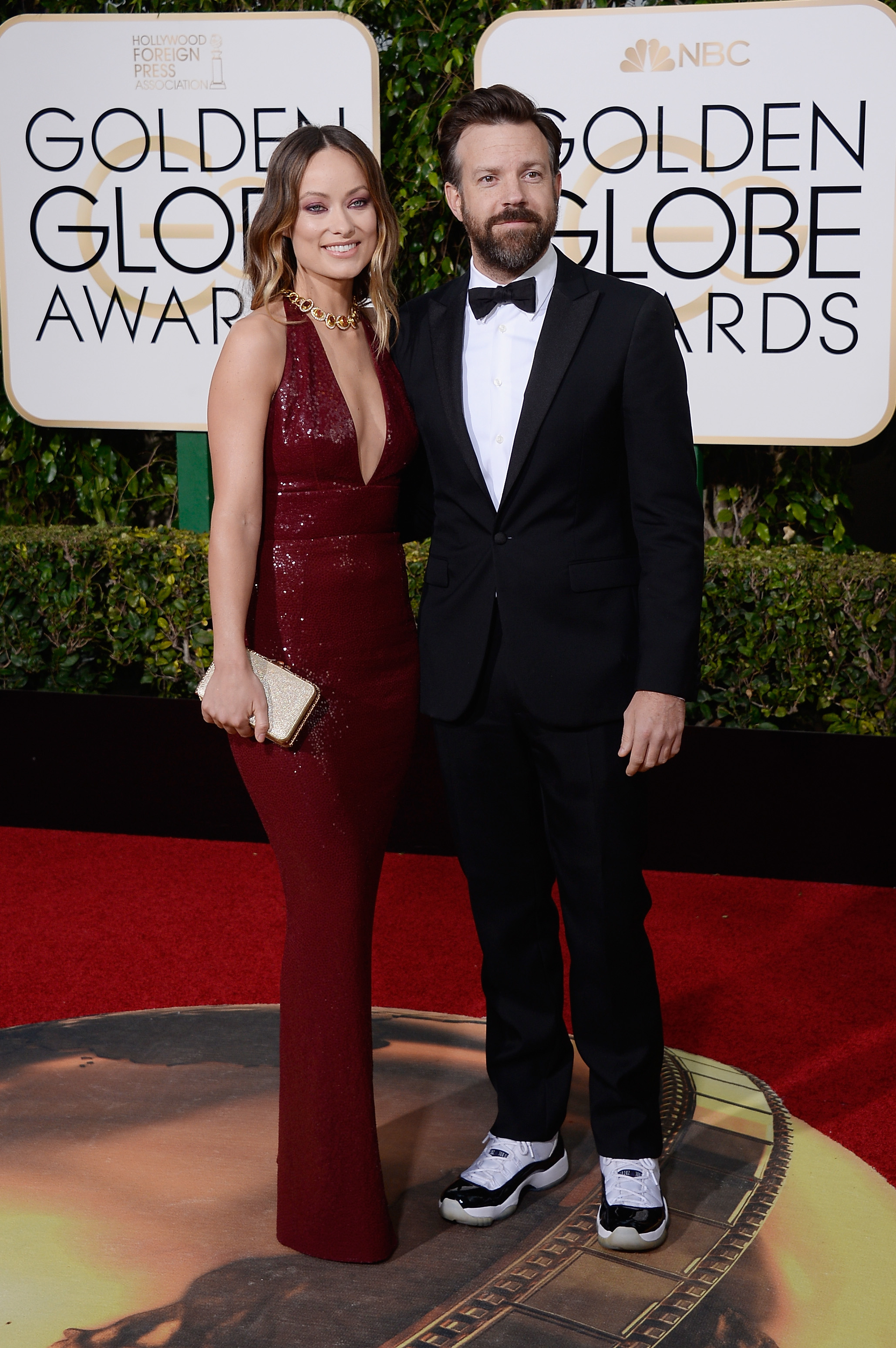 Olivia Wilde and Jason Sudeikis arrive to the 73rd Annual Golden Globe Awards on Jan. 10, 2016 in Beverly Hills.