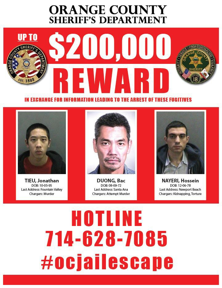 A wanted poster for jail escapees Jonathan Tieu, Bac Duong and Hossein Nayeri.