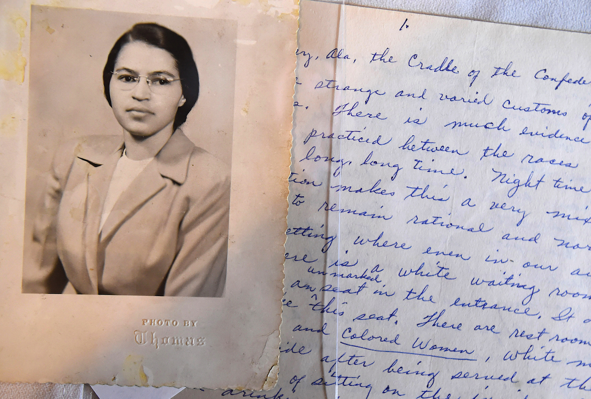 A photo and a hand written page that is part of a Rosa Parks archive during a press event at the Library of Congress James Madison Memorial Building, seen on Jan. 29, 2015 in Washington, DC.